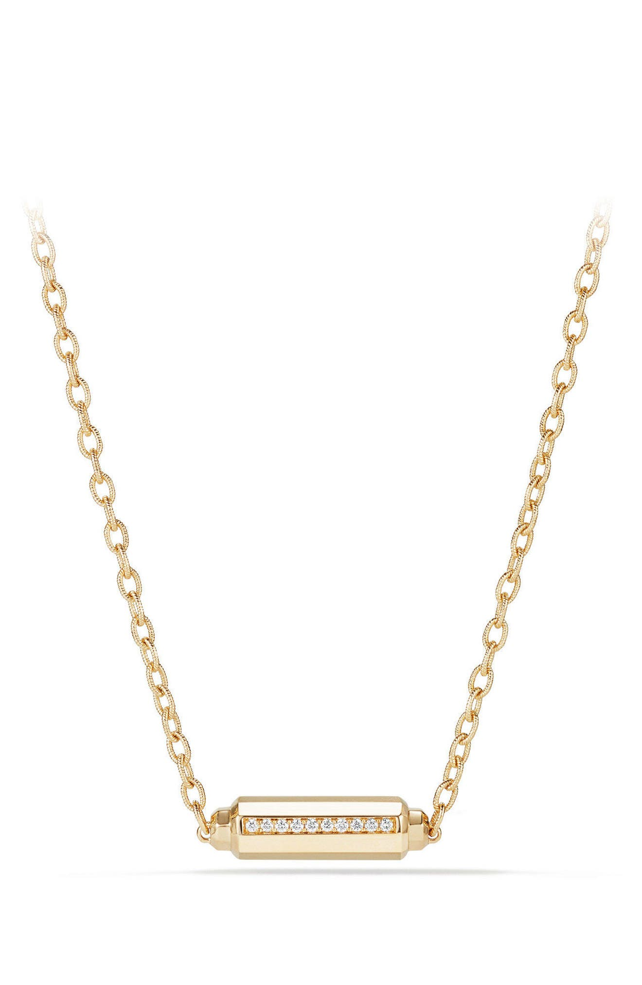 Barrels Single Station Necklace with Diamonds in 18K Gold,                         Main,                         color, YELLOW GOLD