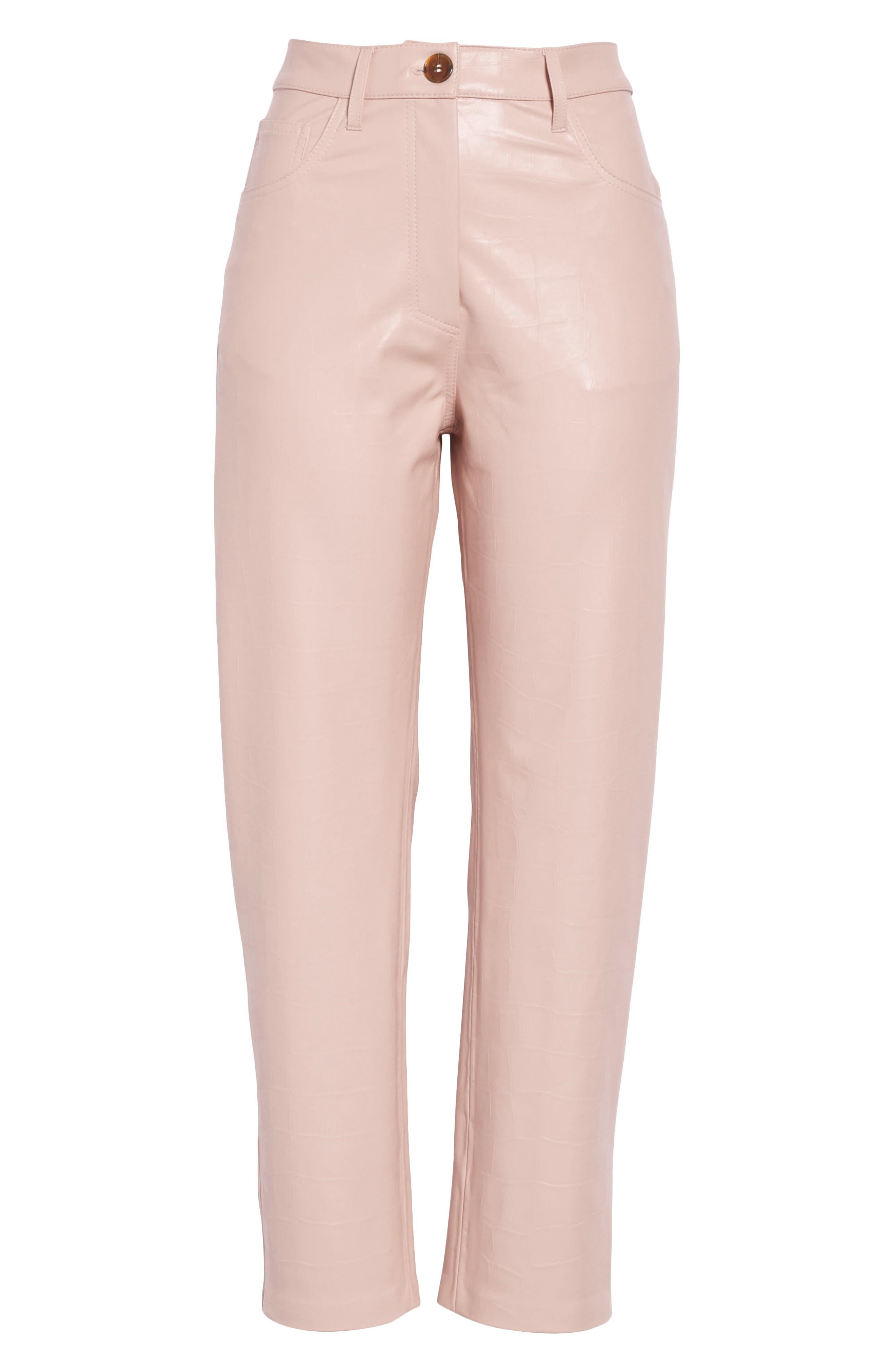 Ivy Faux Leather Straight Leg Pants,                             Alternate thumbnail 6, color,                             BLUSH