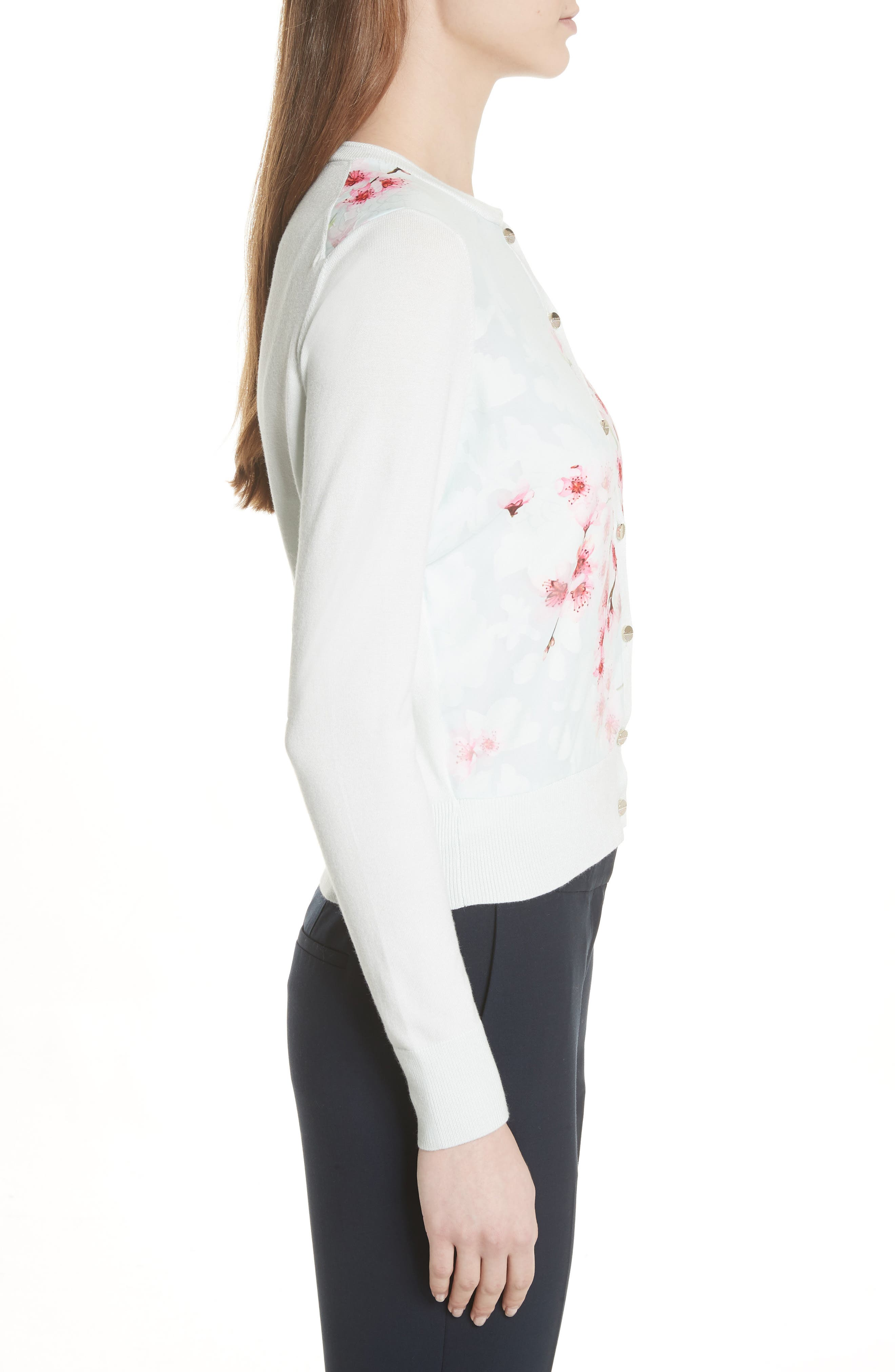 Blossom Woven Front Cardigan,                             Alternate thumbnail 3, color,                             331