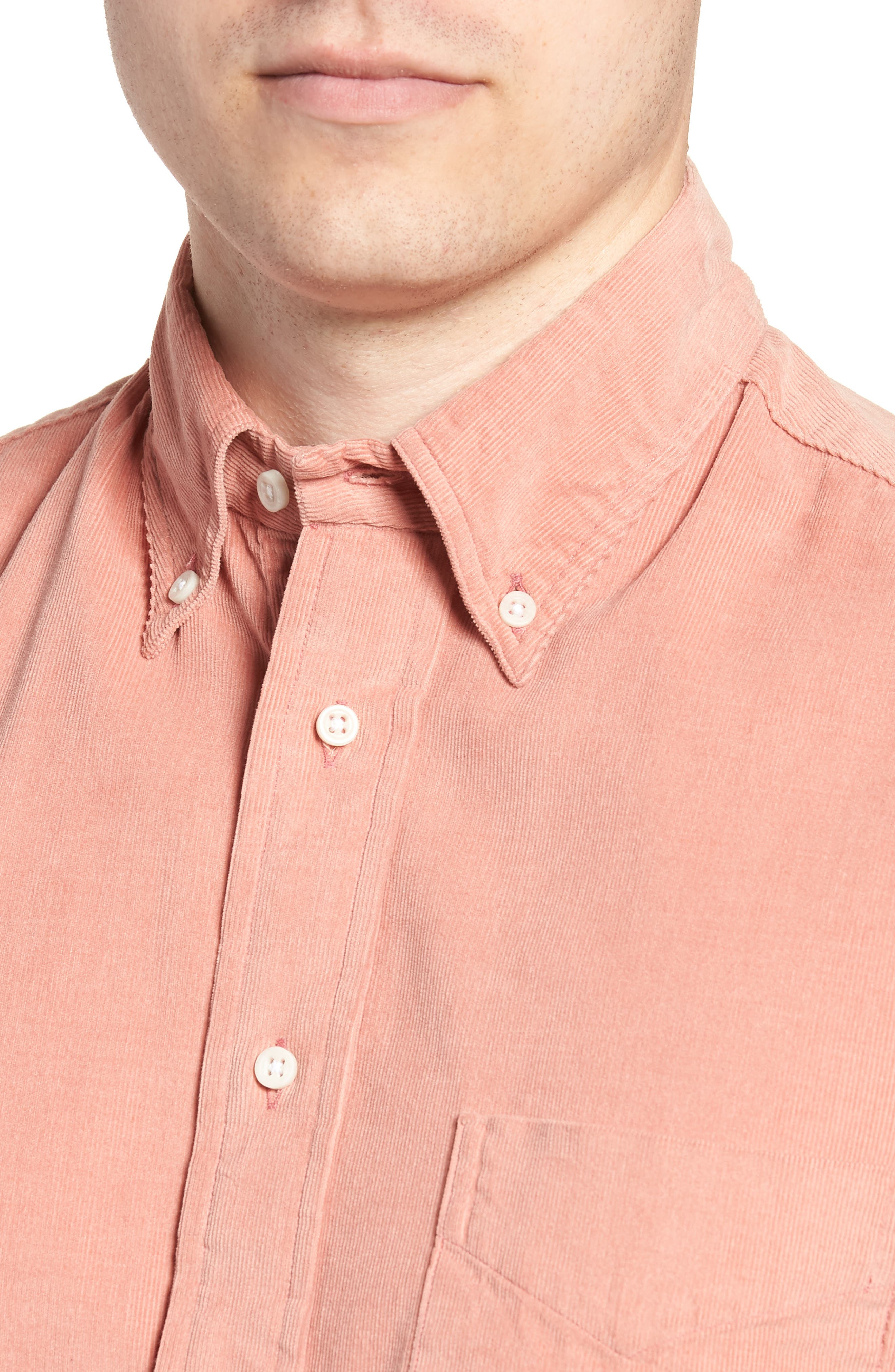 Regular Fit Corduroy Shirt,                             Alternate thumbnail 2, color,                             PINK