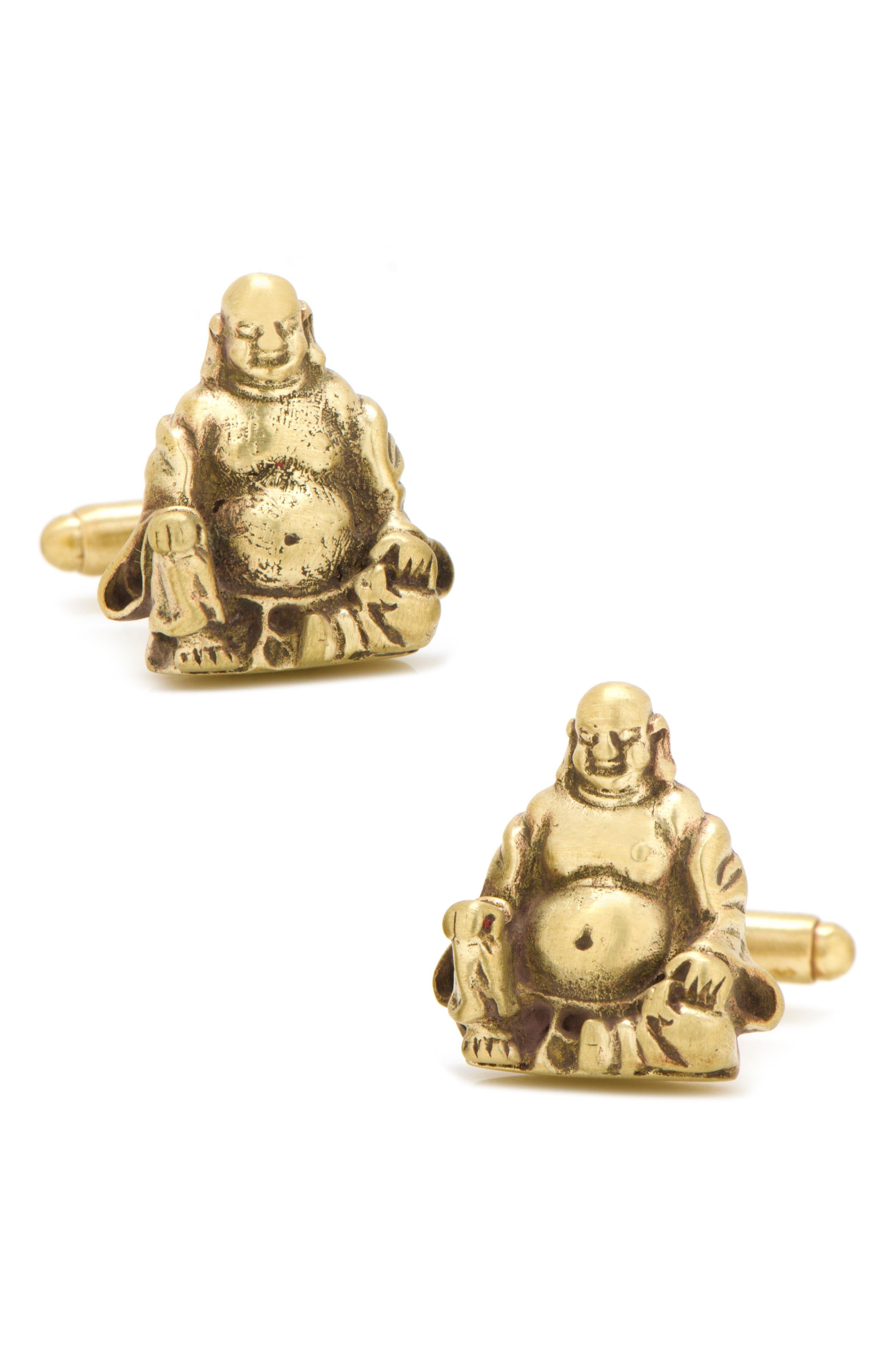 Smiling Buddha Cuff Links,                         Main,                         color, METALLIC GOLD