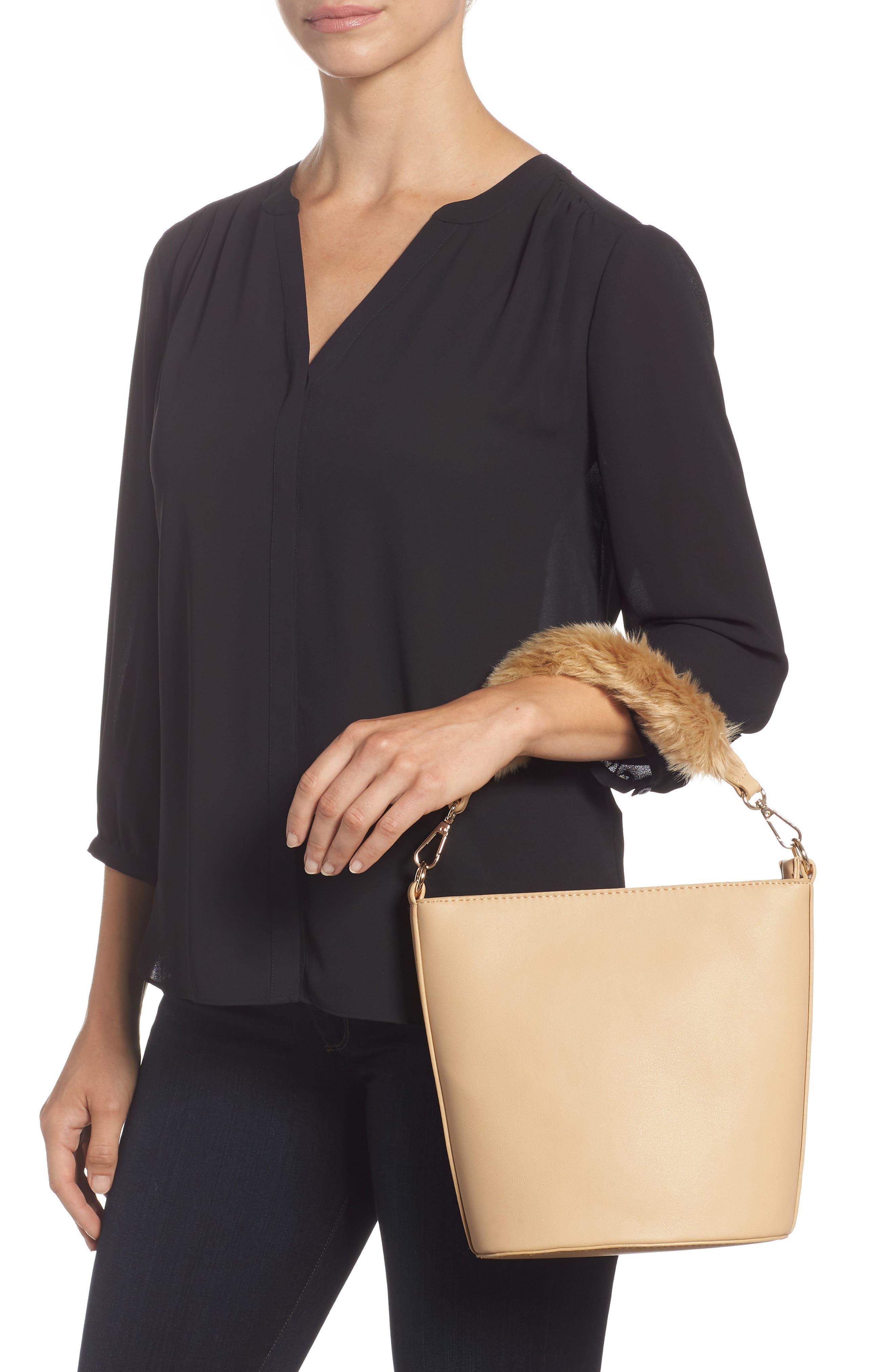 Faux Fur Handle Medium Crossbody Bag,                             Alternate thumbnail 2, color,                             TAN