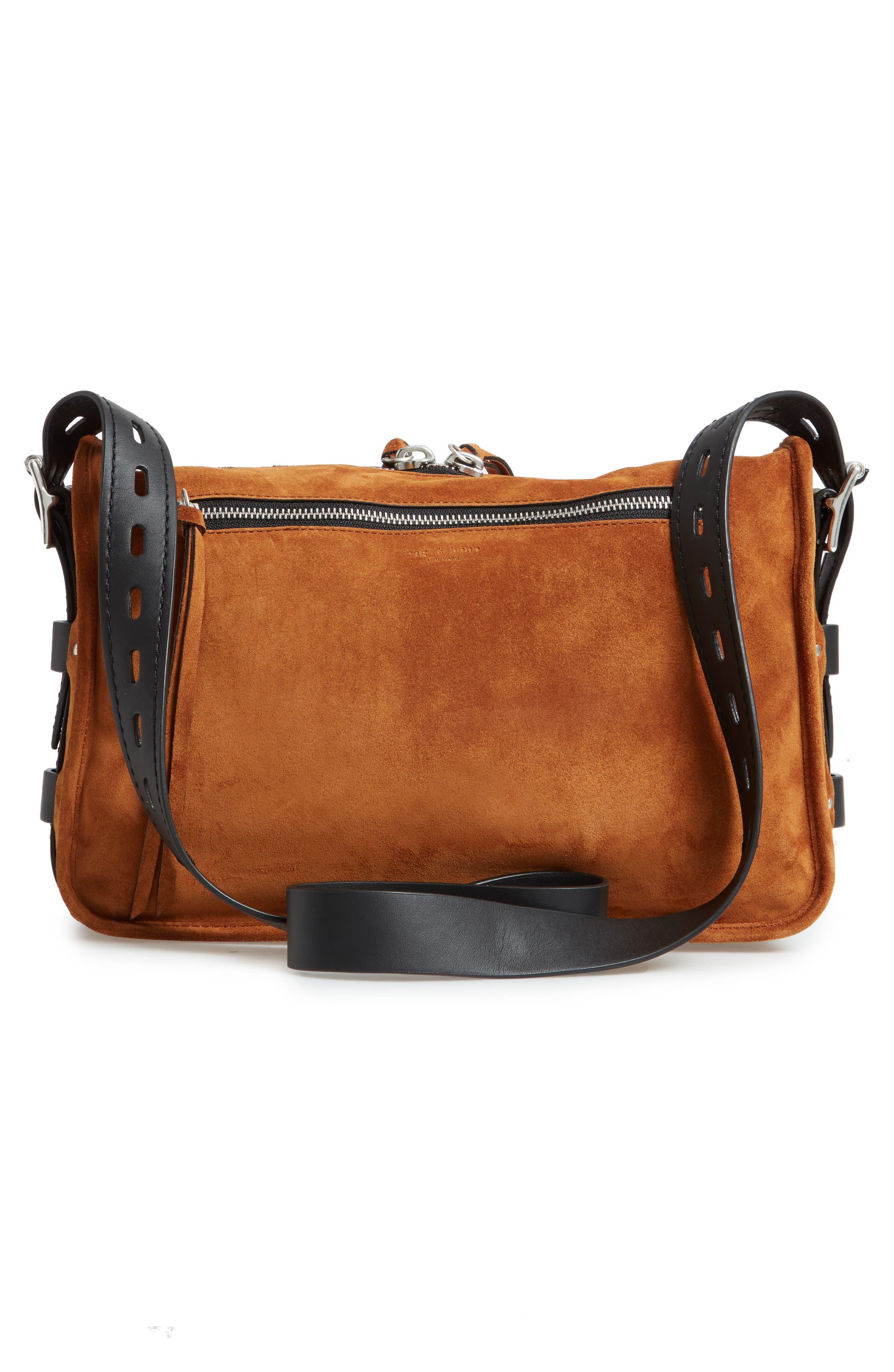Field Leather Messenger Bag,                             Alternate thumbnail 3, color,                             TAN SUEDE