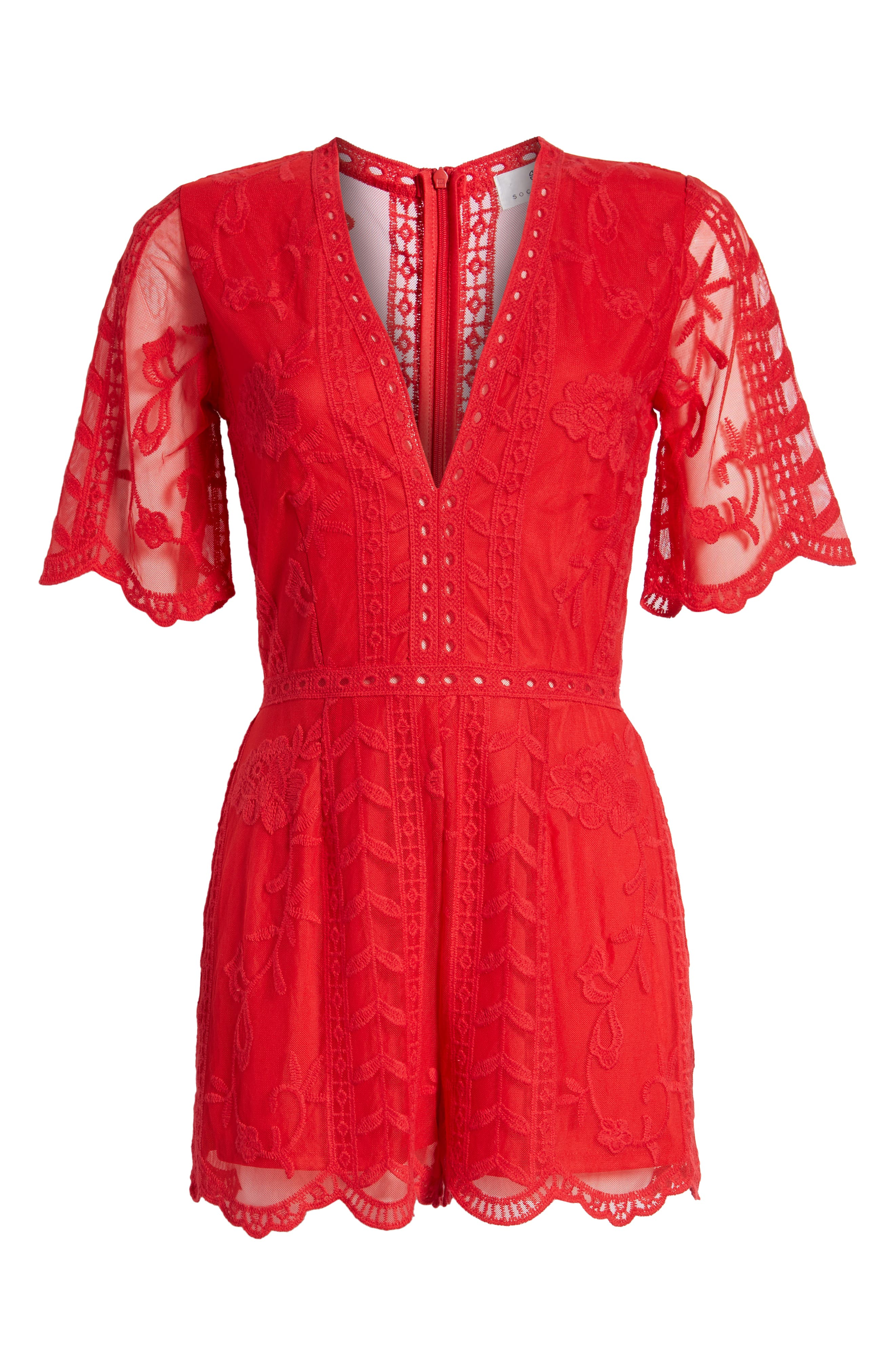 Plunging Lace Romper,                             Alternate thumbnail 7, color,                             RED LIPSTICK
