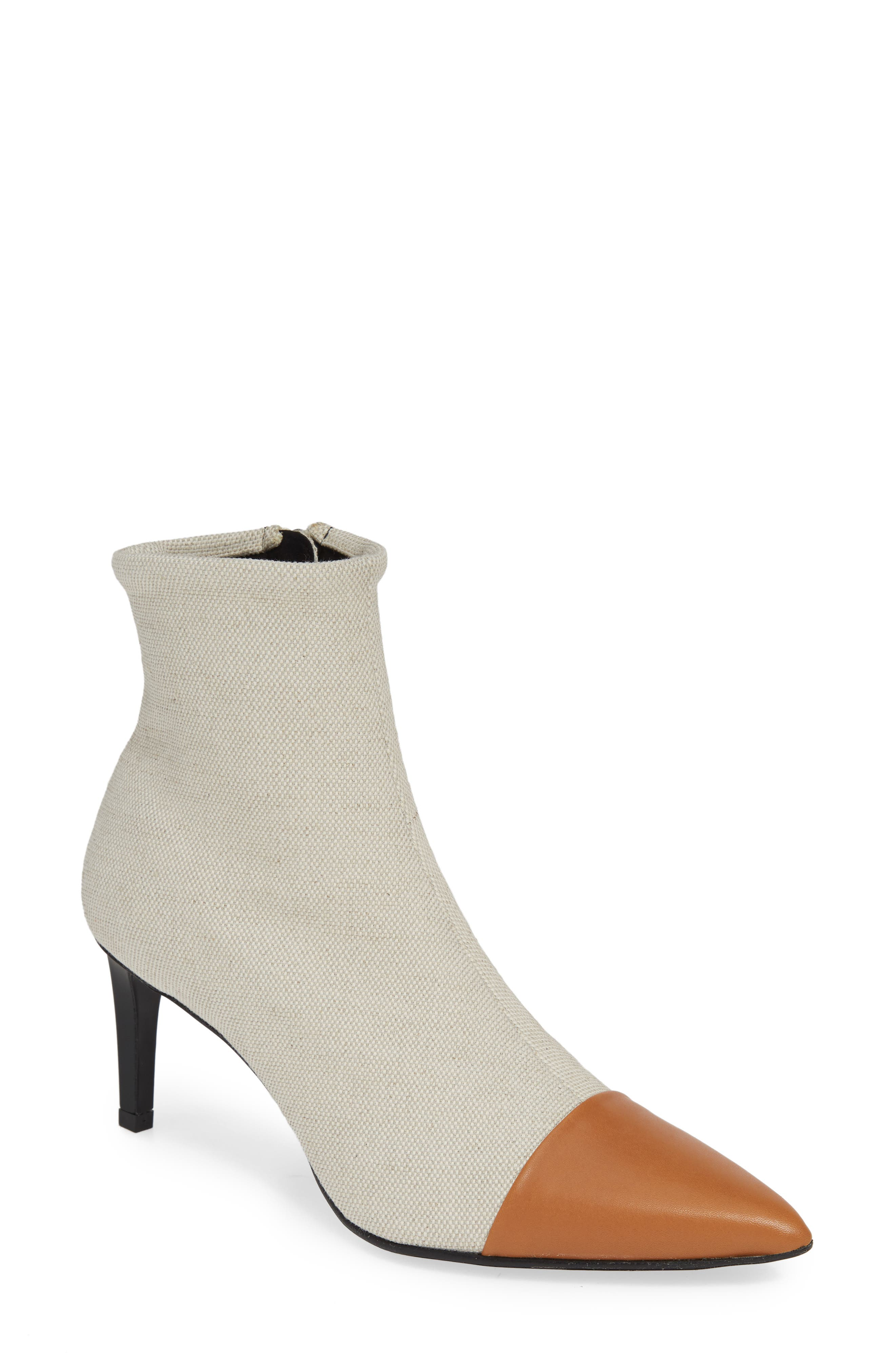 Beha Pointy Toe Bootie, Main, color, ECRU
