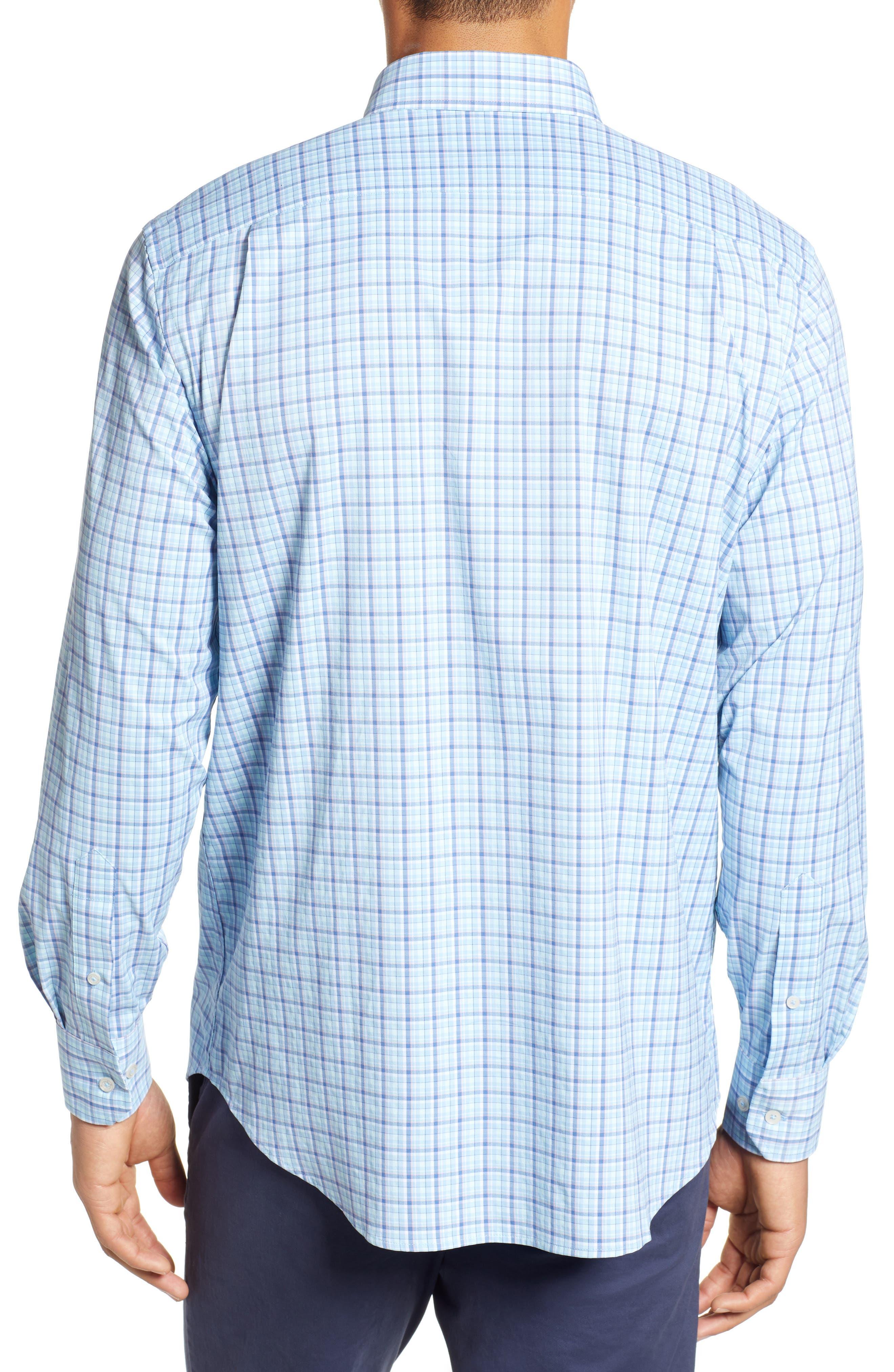 Staycation Intercoastal Regular Fit Plaid Performance Sport Shirt,                             Alternate thumbnail 3, color,                             SKY BLUE
