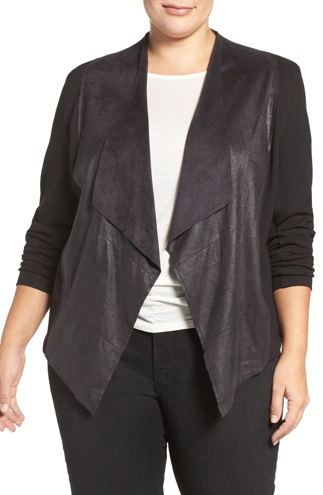 'Shanan' Faux Leather & Knit Drape Front Jacket,                             Main thumbnail 1, color,                             BLACK