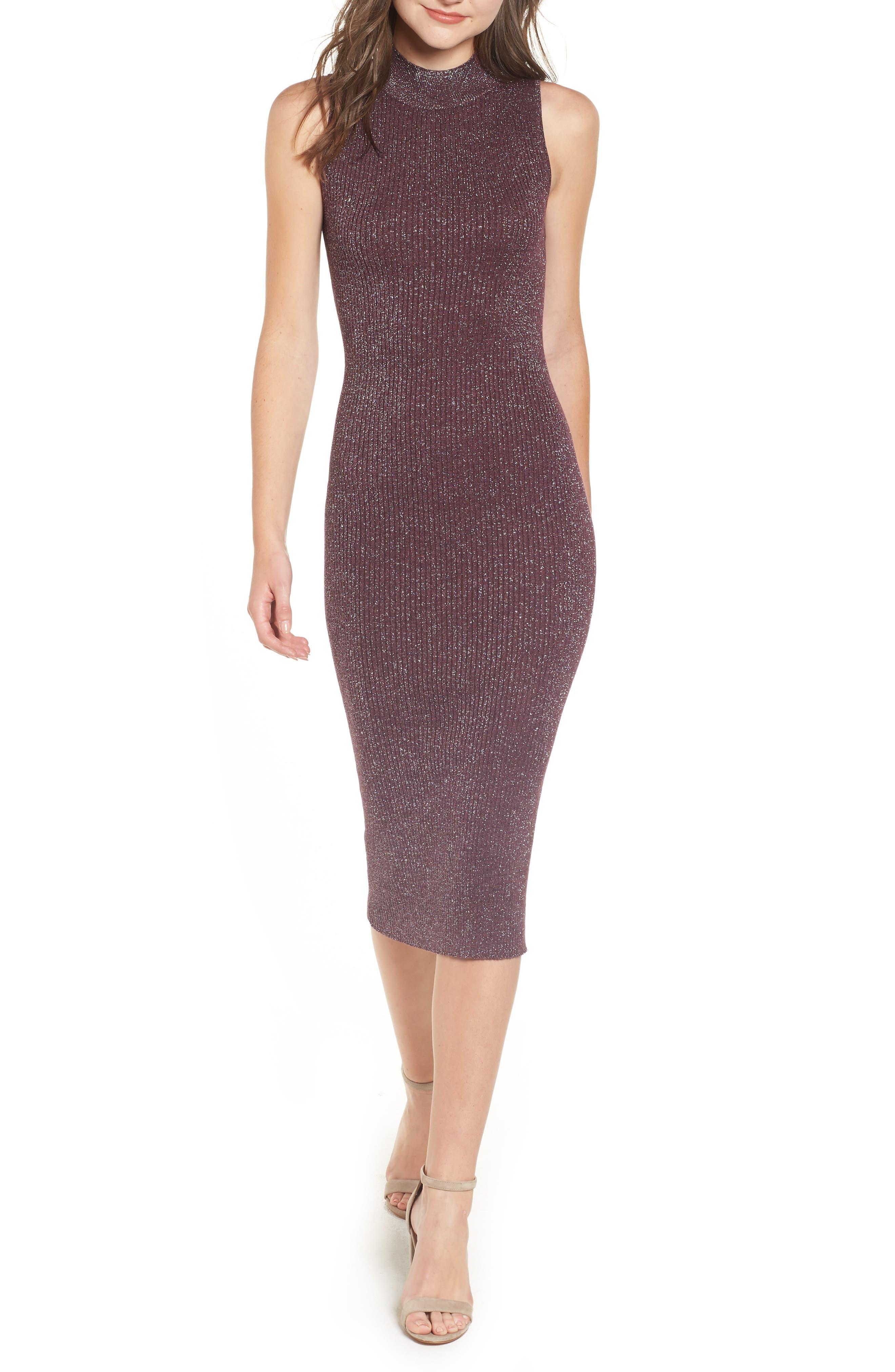Chelsea28 Metallic Ribbed Body-Con Dress, Burgundy