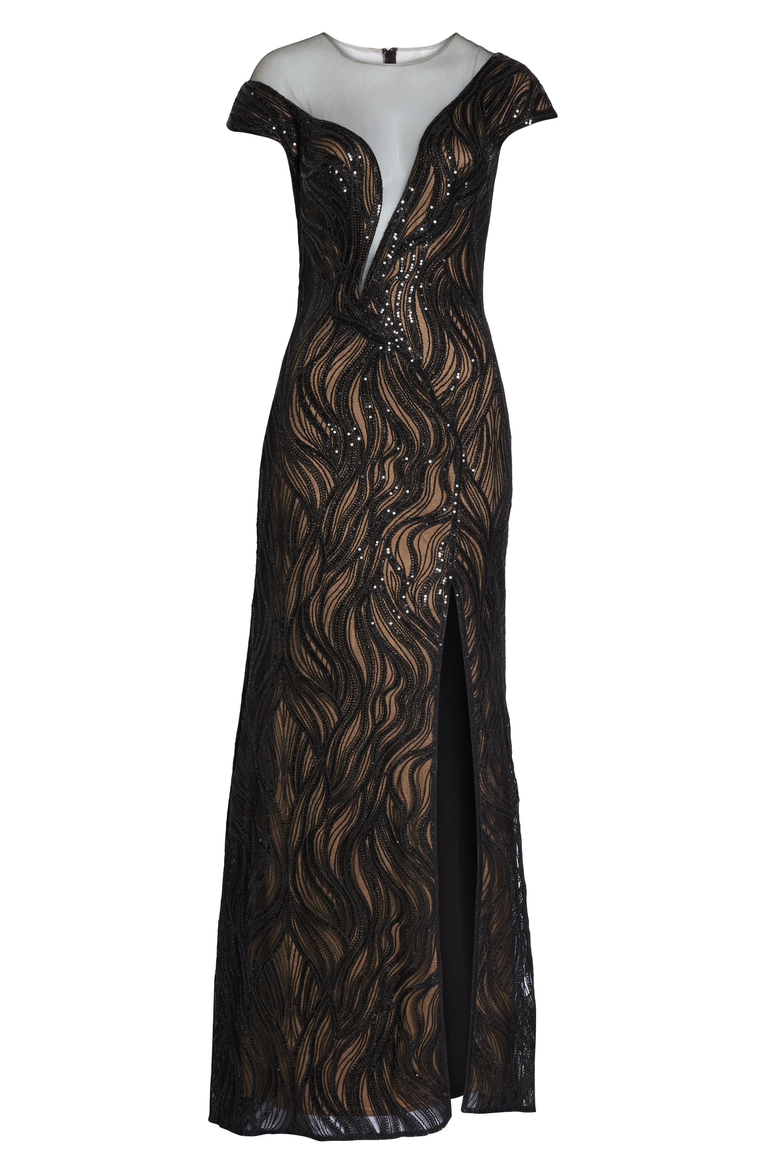 Lucilia Illusion Sequin Gown,                             Alternate thumbnail 7, color,                             BLACK/ NUDE