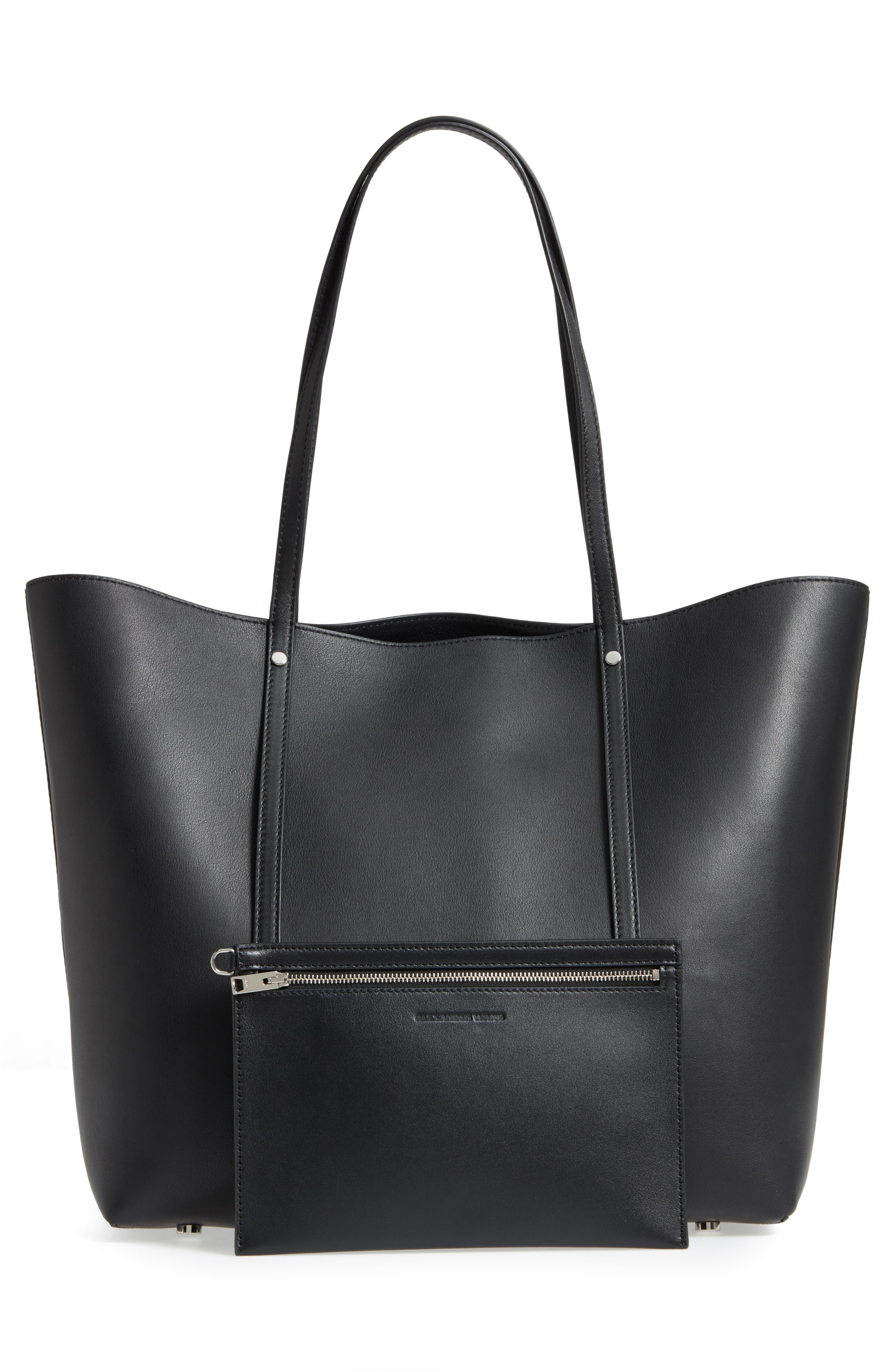 Ace Leather Tote,                             Alternate thumbnail 3, color,                             BLACK