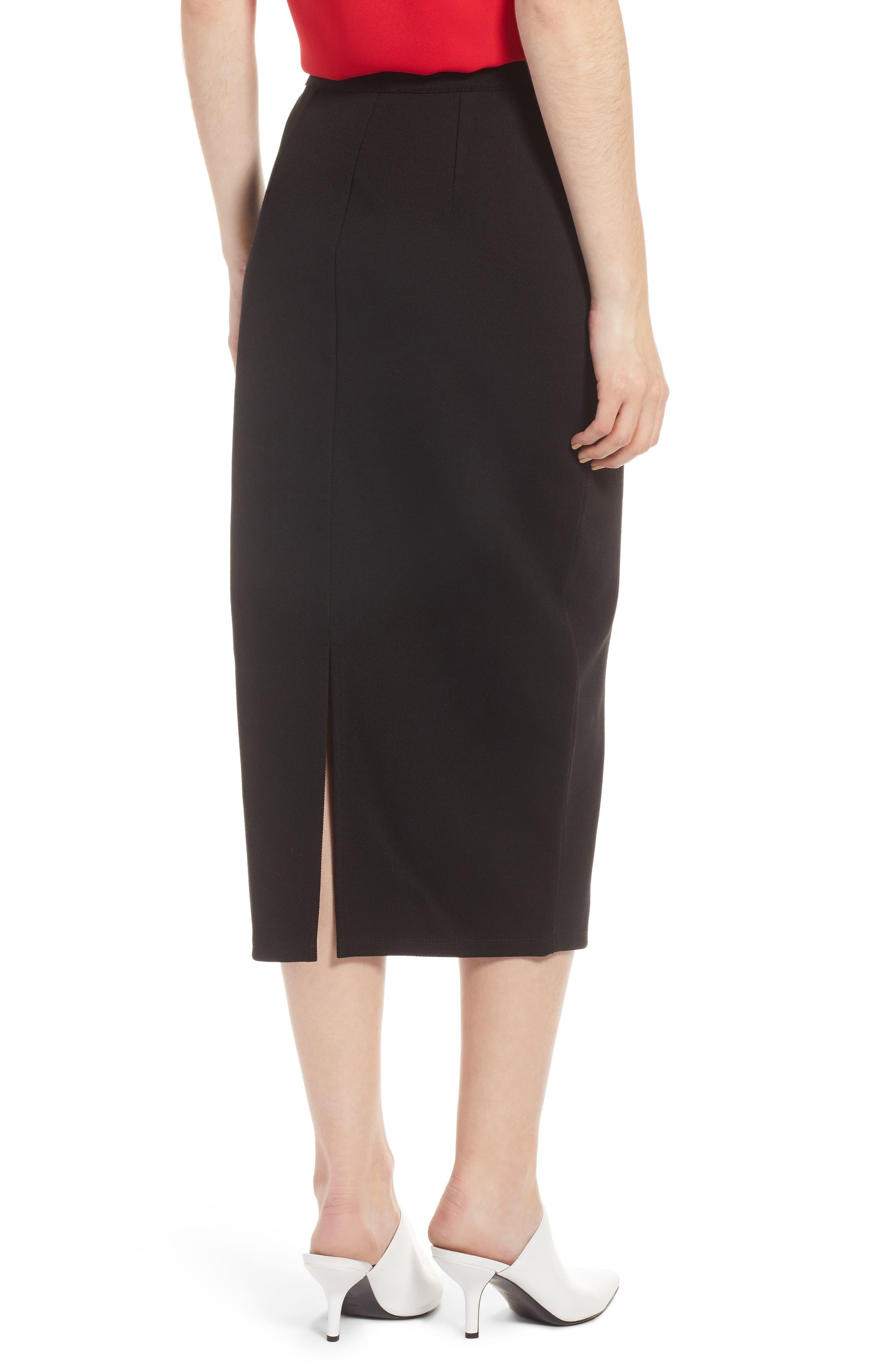 Pique Ponte Skirt,                             Alternate thumbnail 2, color,                             001