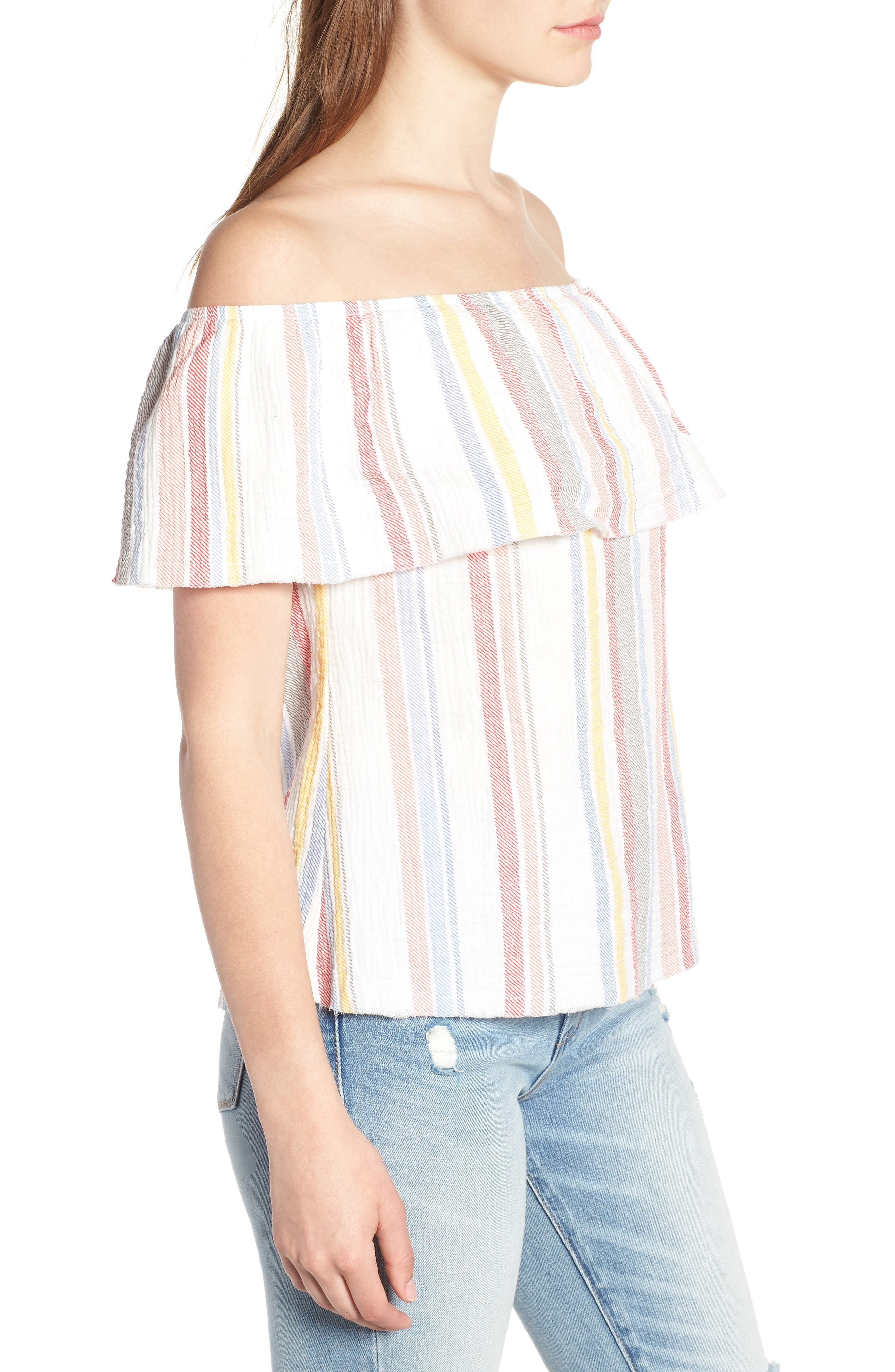 Ruffle Off the Shoulder Top,                             Alternate thumbnail 3, color,                             100