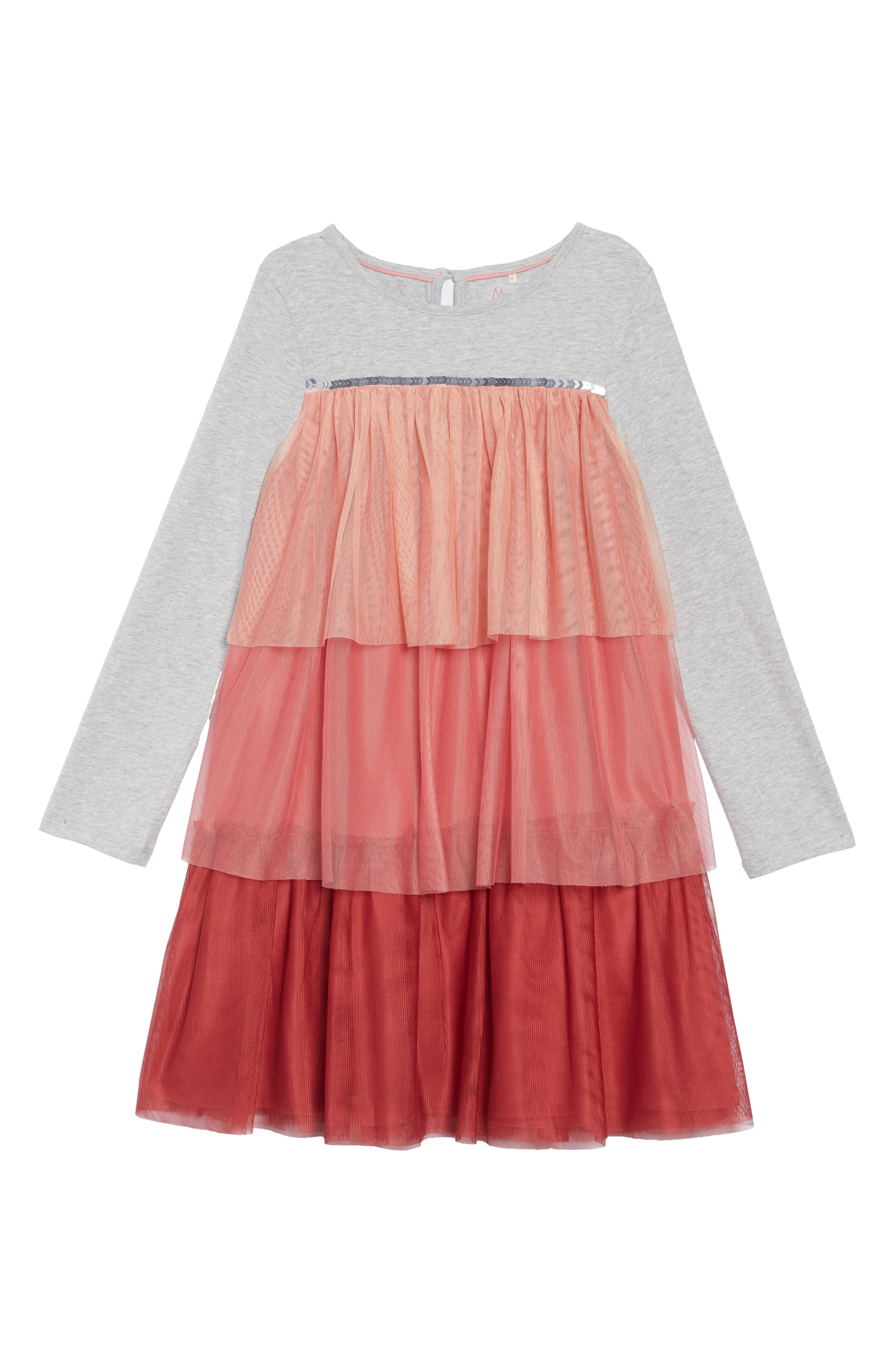 Jersey & Tulle Dress,                         Main,                         color, ROSE PINK OMBRE