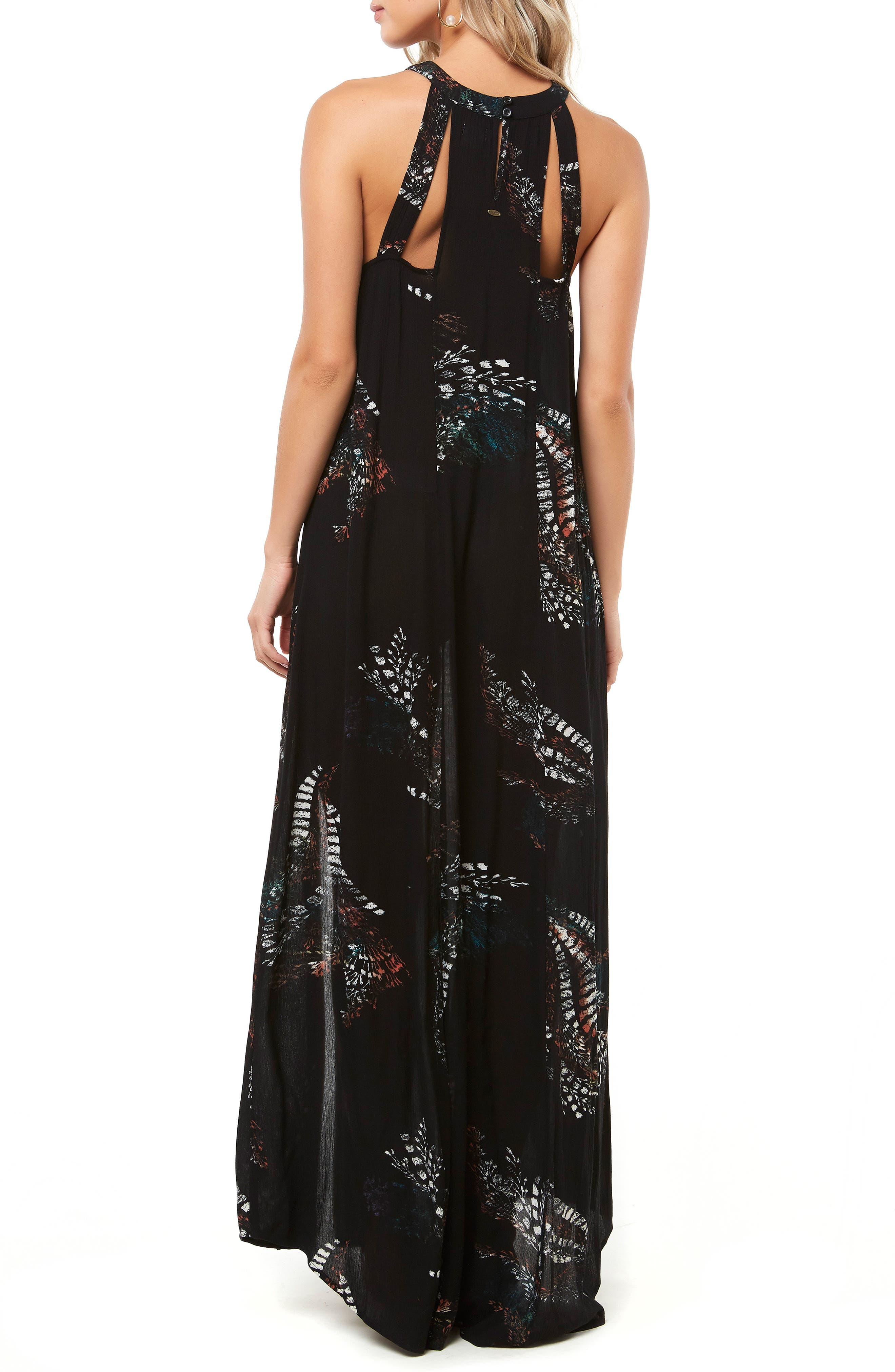 Luka Cutout Maxi Dress,                             Alternate thumbnail 2, color,                             BLACK