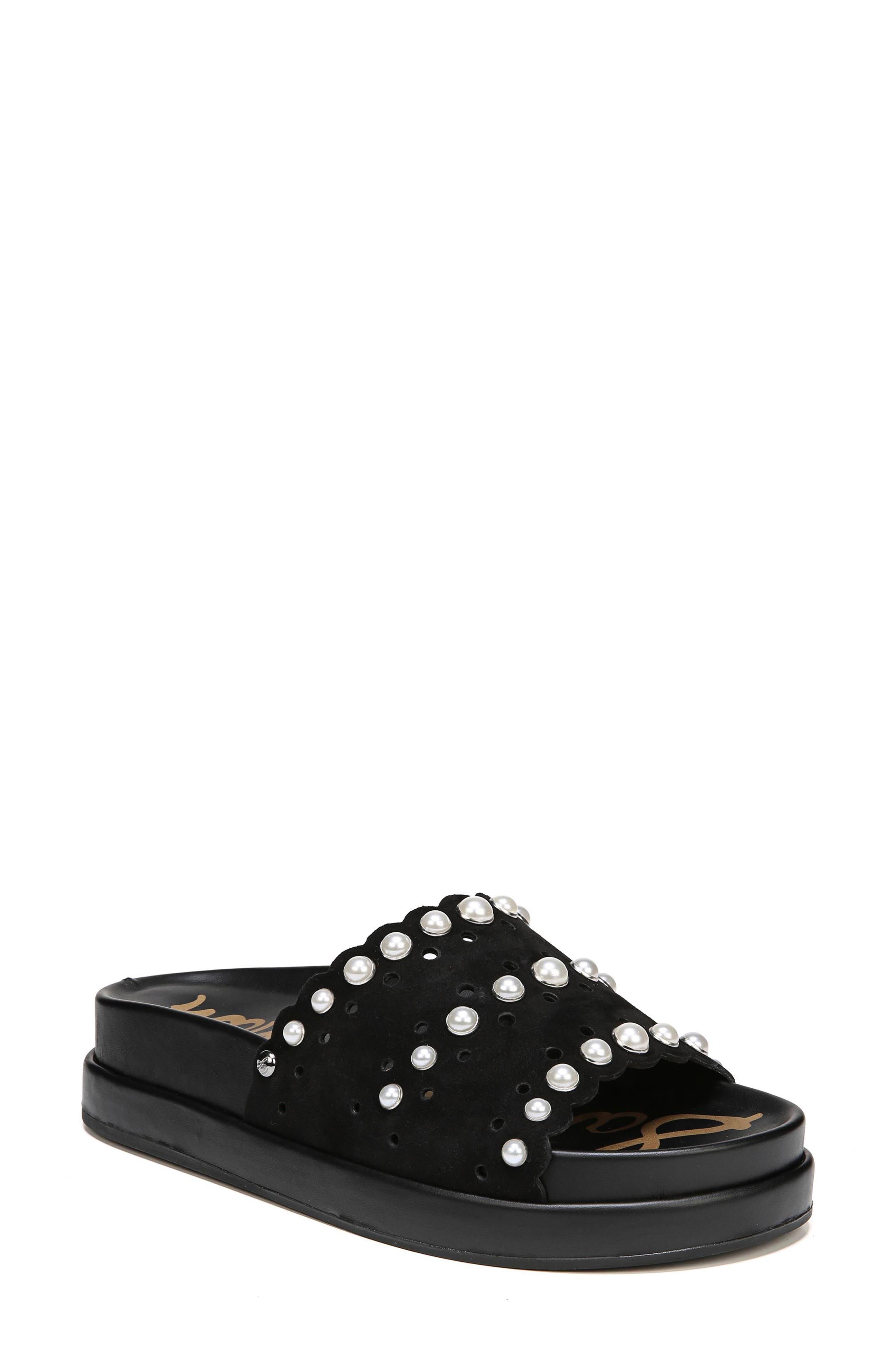 Sera Slide Sandal,                             Main thumbnail 1, color,                             BLACK SUEDE
