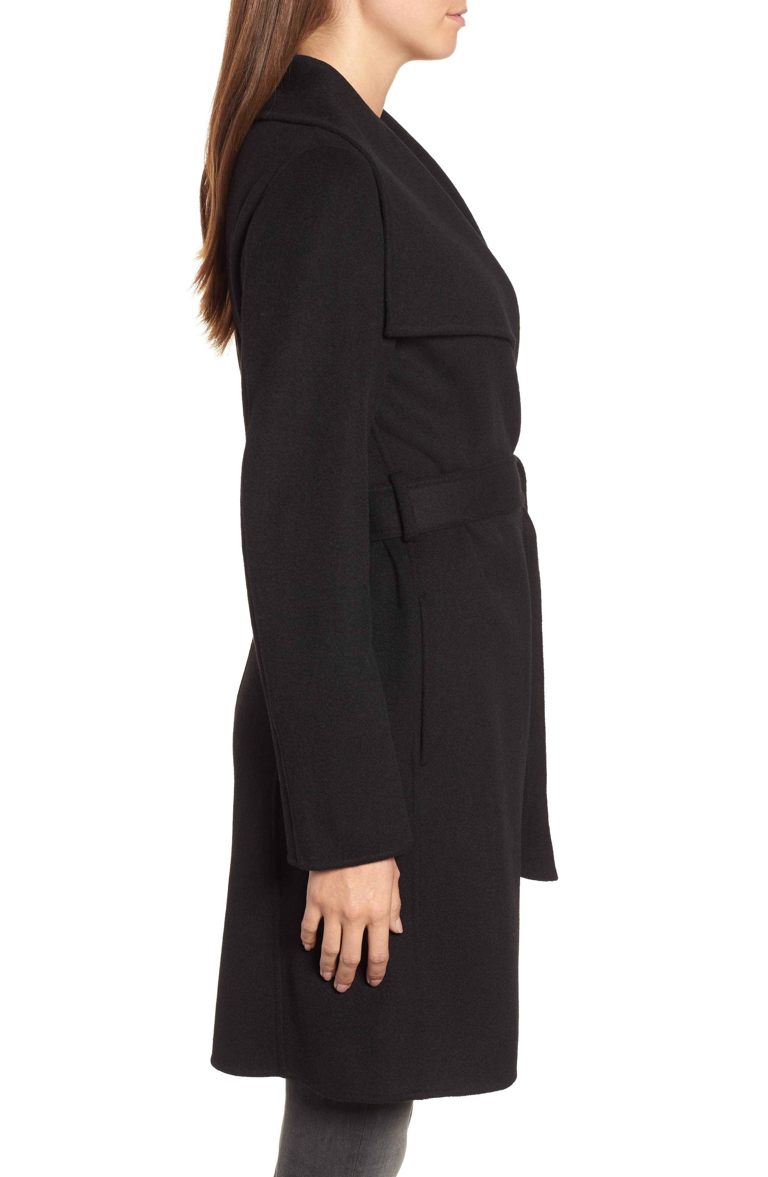 Ellie Double Face Wool Blend Wrap Coat,                             Alternate thumbnail 3, color,                             BLACK