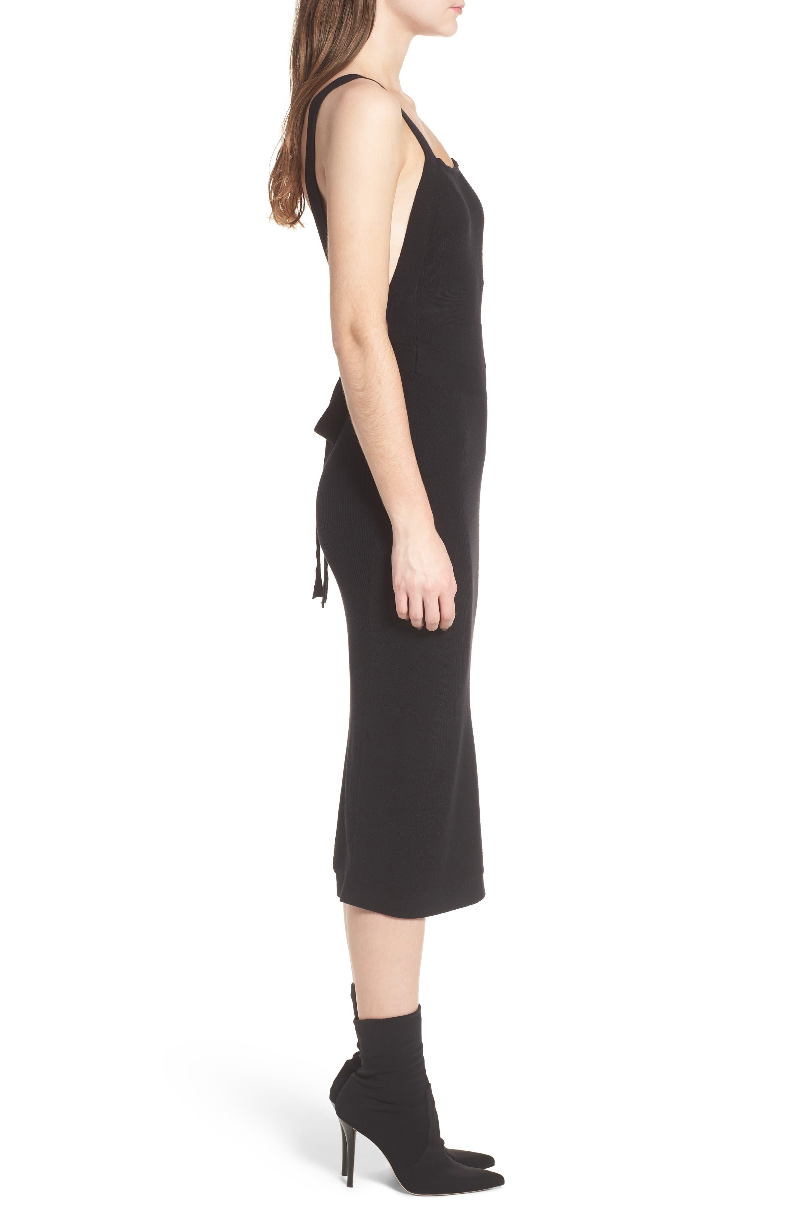 Midi Body-Con Dress,                             Alternate thumbnail 3, color,                             001