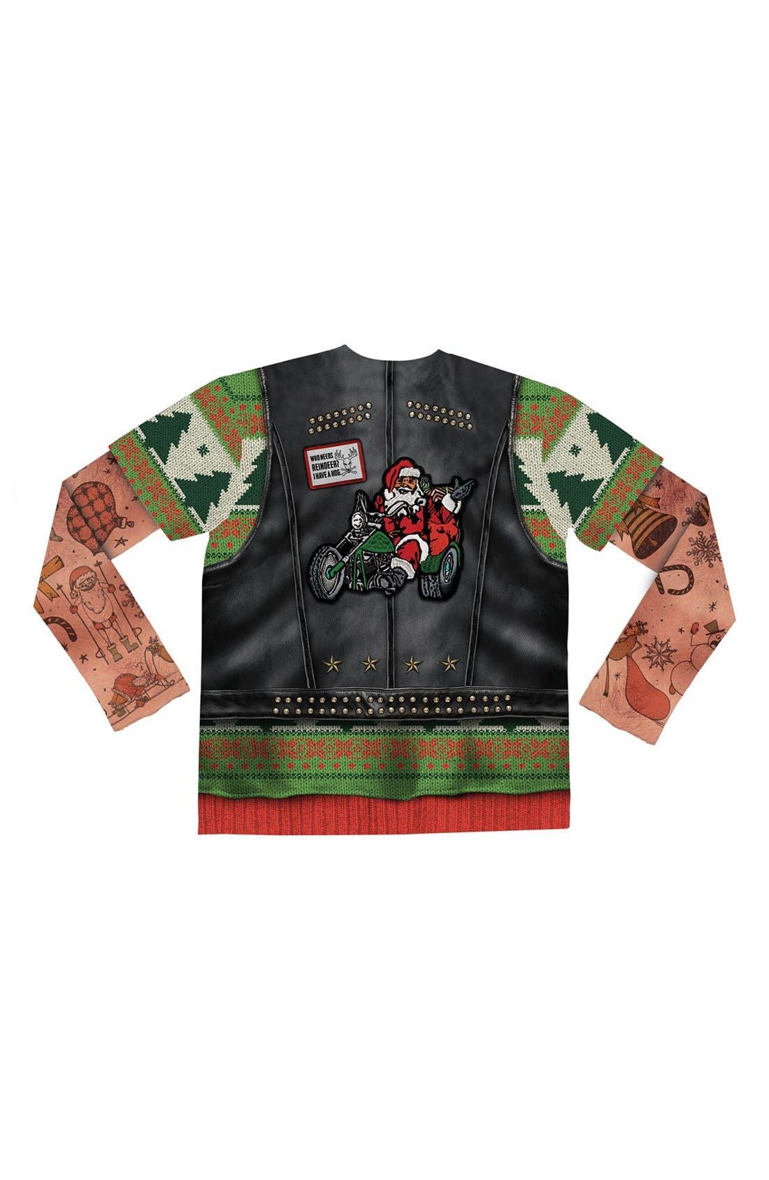 'Ugly Christmas Sweater - Biker Tattoo' Long Sleeve Novelty T-Shirt,                             Alternate thumbnail 4, color,                             300
