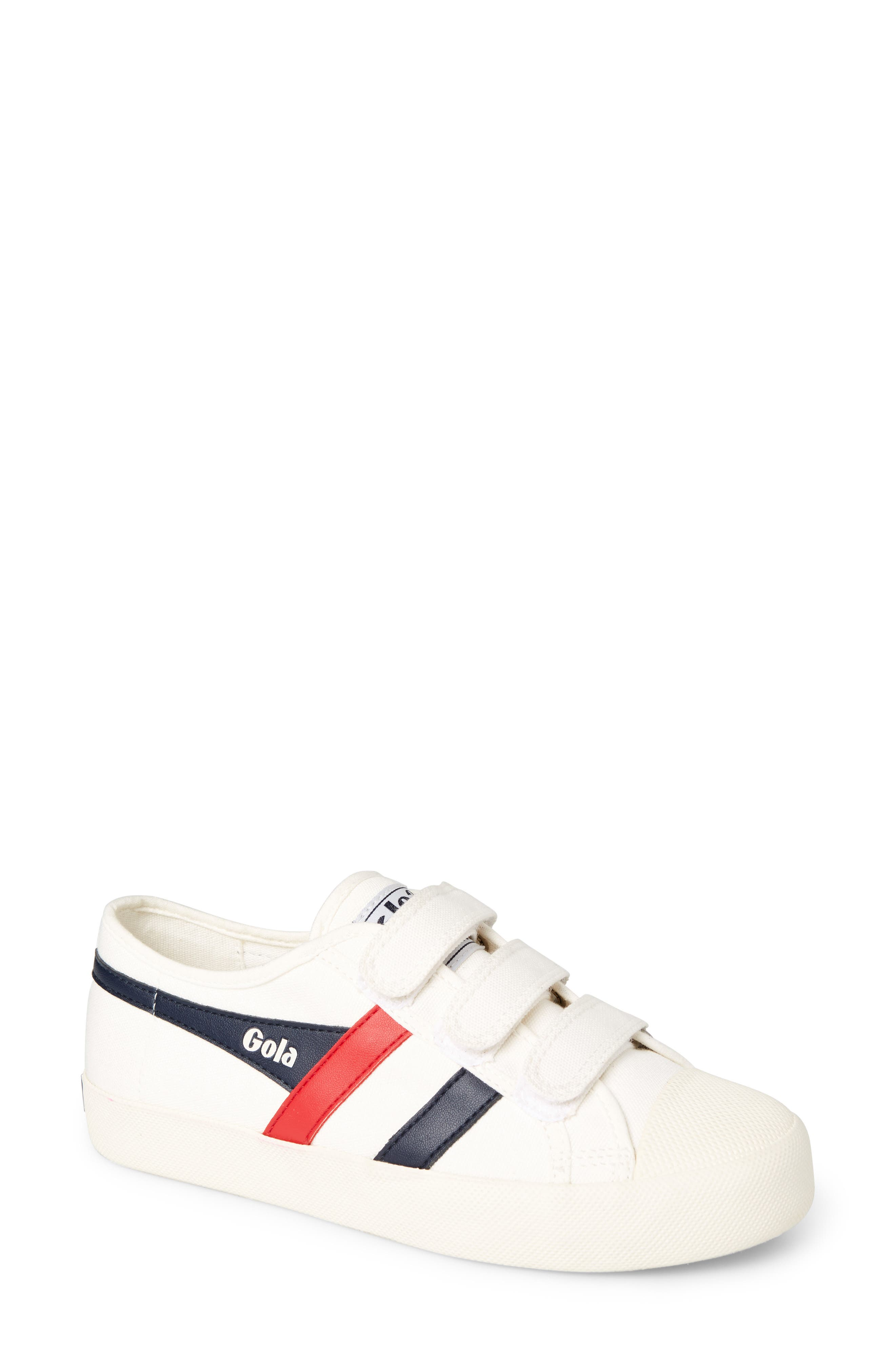 Coaster Low Top Sneaker,                             Main thumbnail 1, color,                             OFF WHITE/ NAVY/ RED