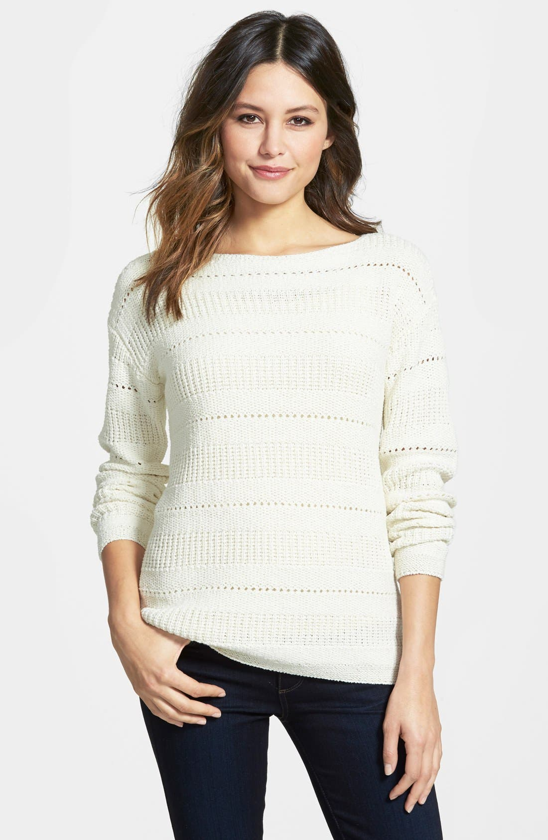Pointelle Stitch Boatneck Sweater,                             Main thumbnail 2, color,