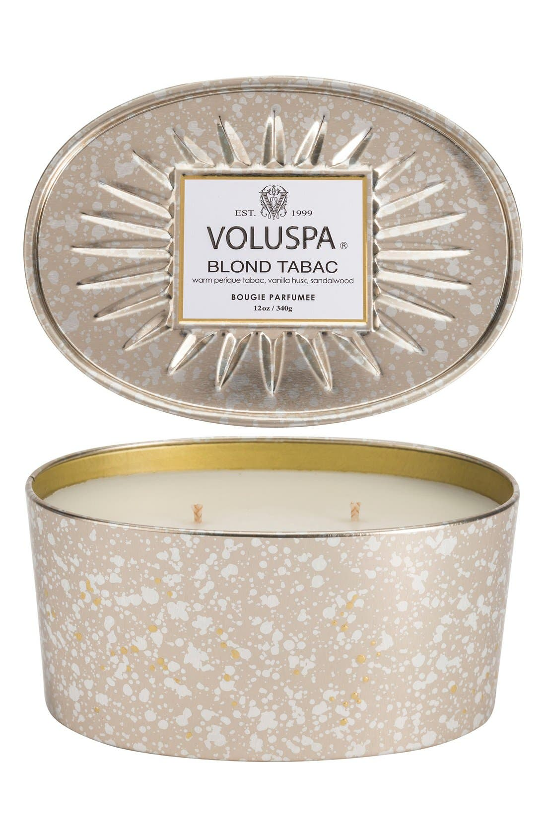 Vermeil Blond Tabac Two-Wick Tin Candle,                             Main thumbnail 1, color,                             000