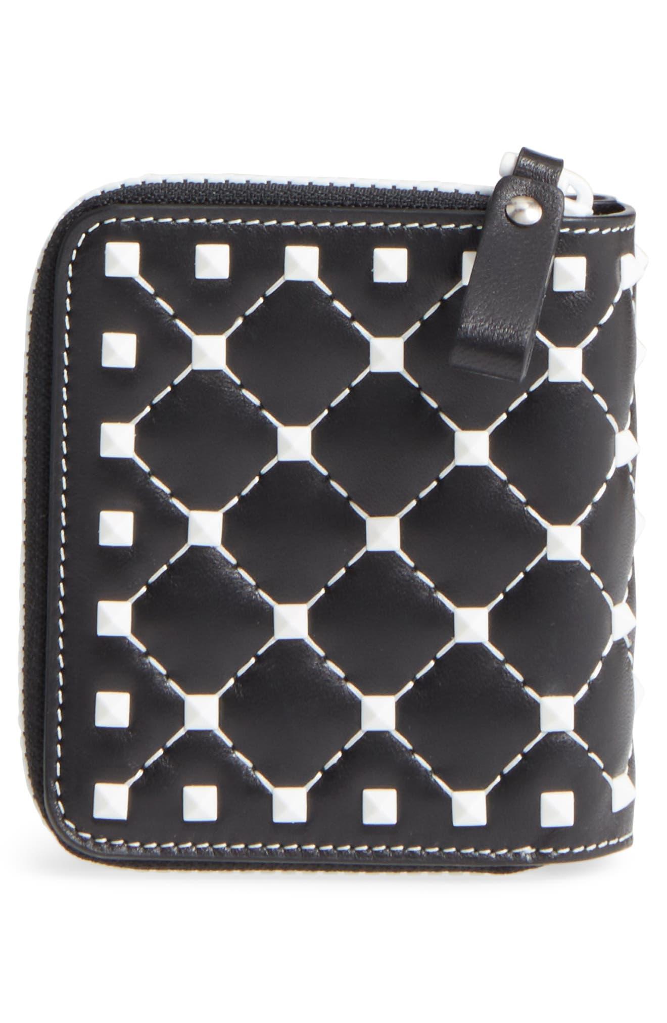 Rockstud Matelassé Leather French Wallet,                             Alternate thumbnail 4, color,                             001