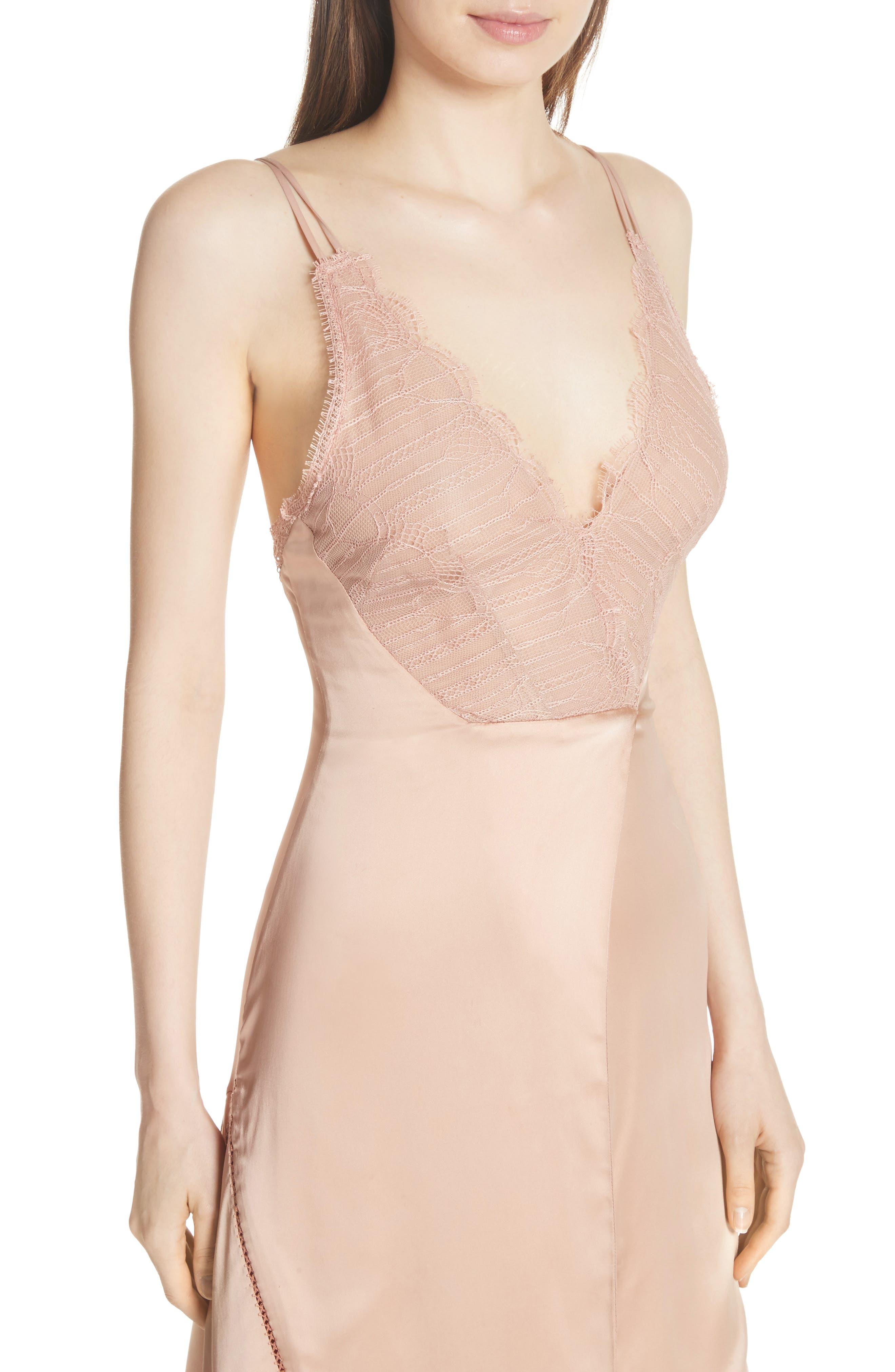 Mixed Trim Satin Handkerchief Dress,                             Alternate thumbnail 4, color,                             241
