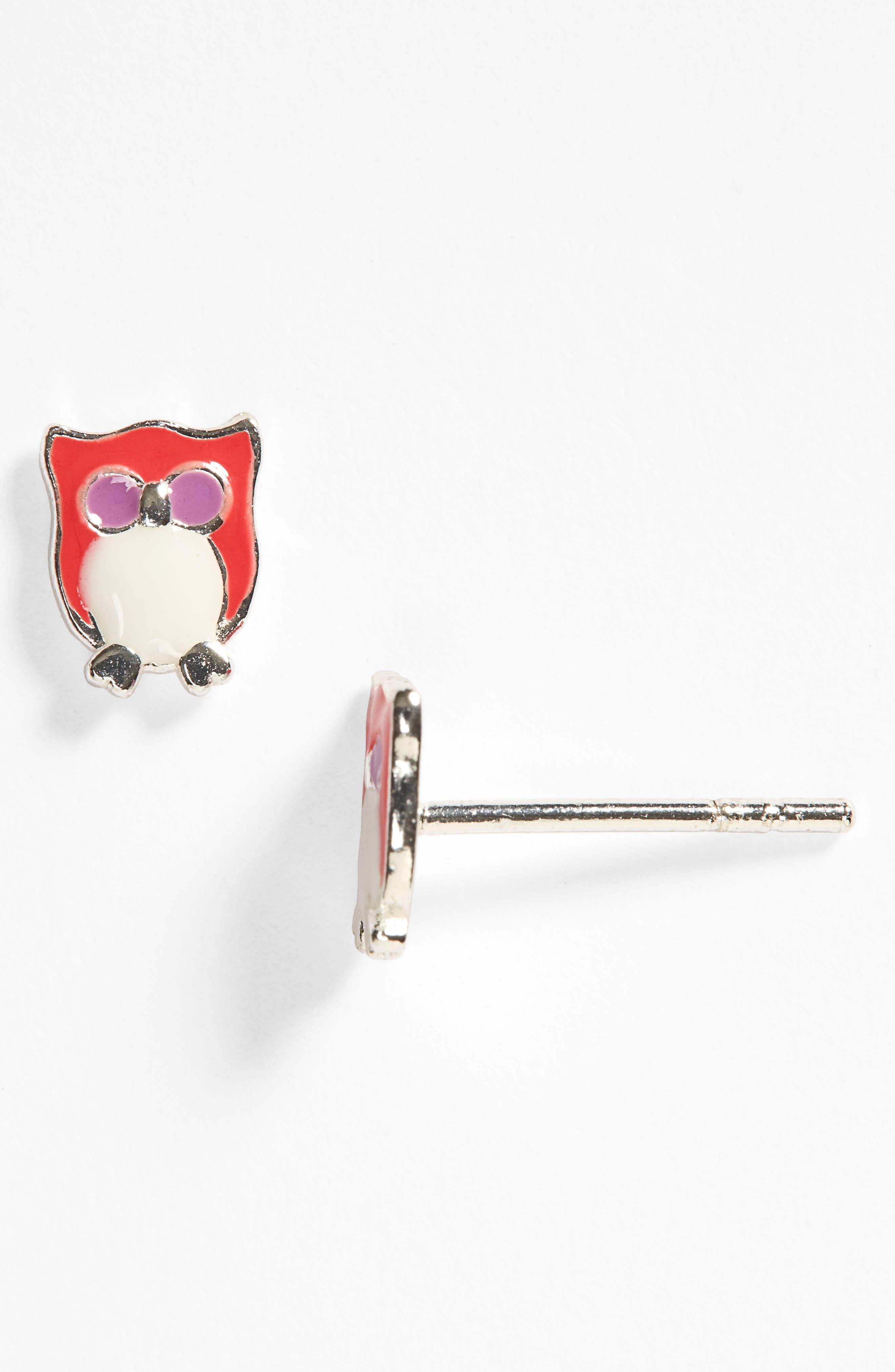 Owl Sterling Silver Stud Earrings,                             Alternate thumbnail 2, color,
