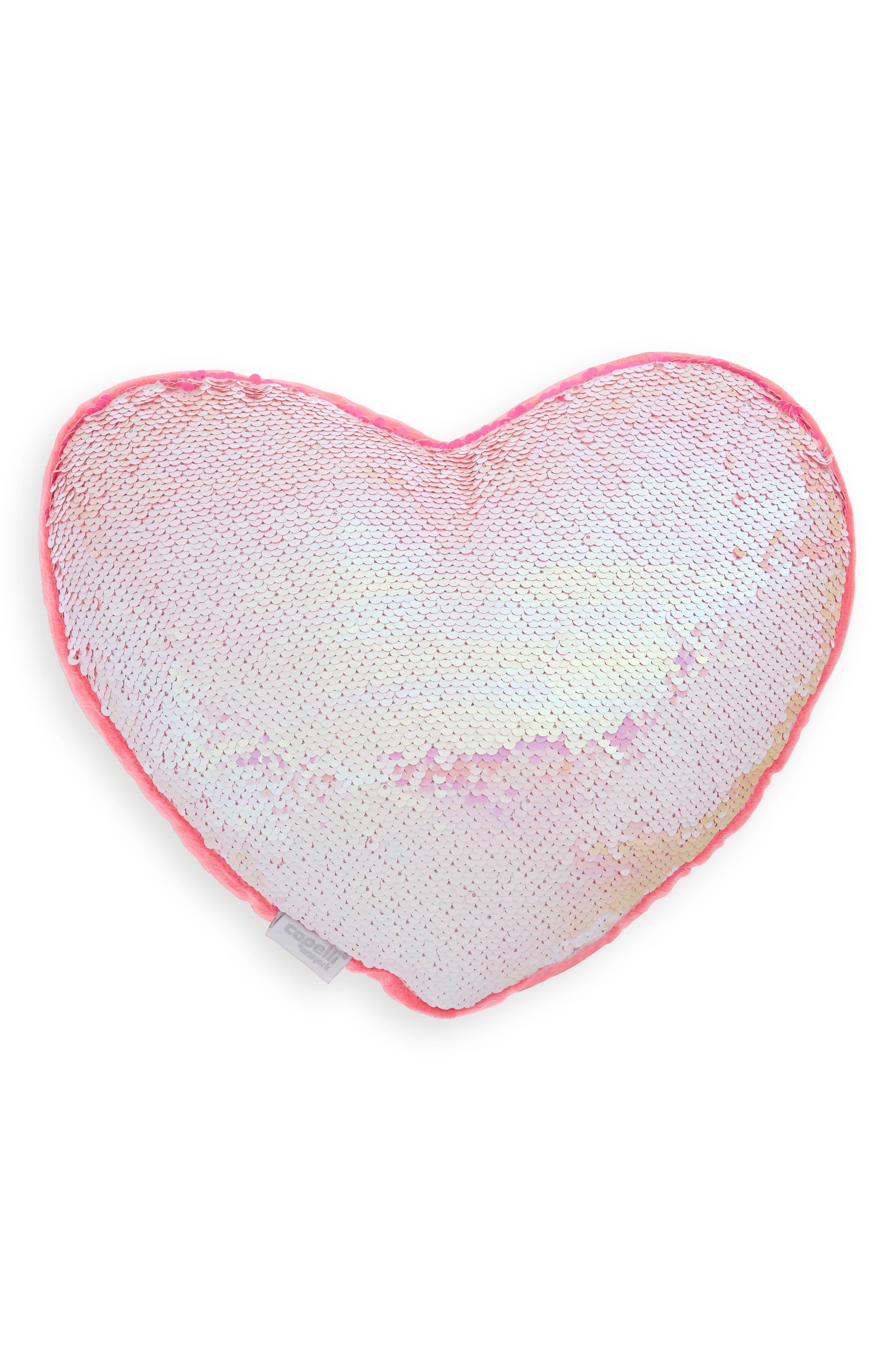 CAPELLI NEW YORK,                             Reversible Sequin Heart Pillow,                             Alternate thumbnail 4, color,                             PINK COMBO