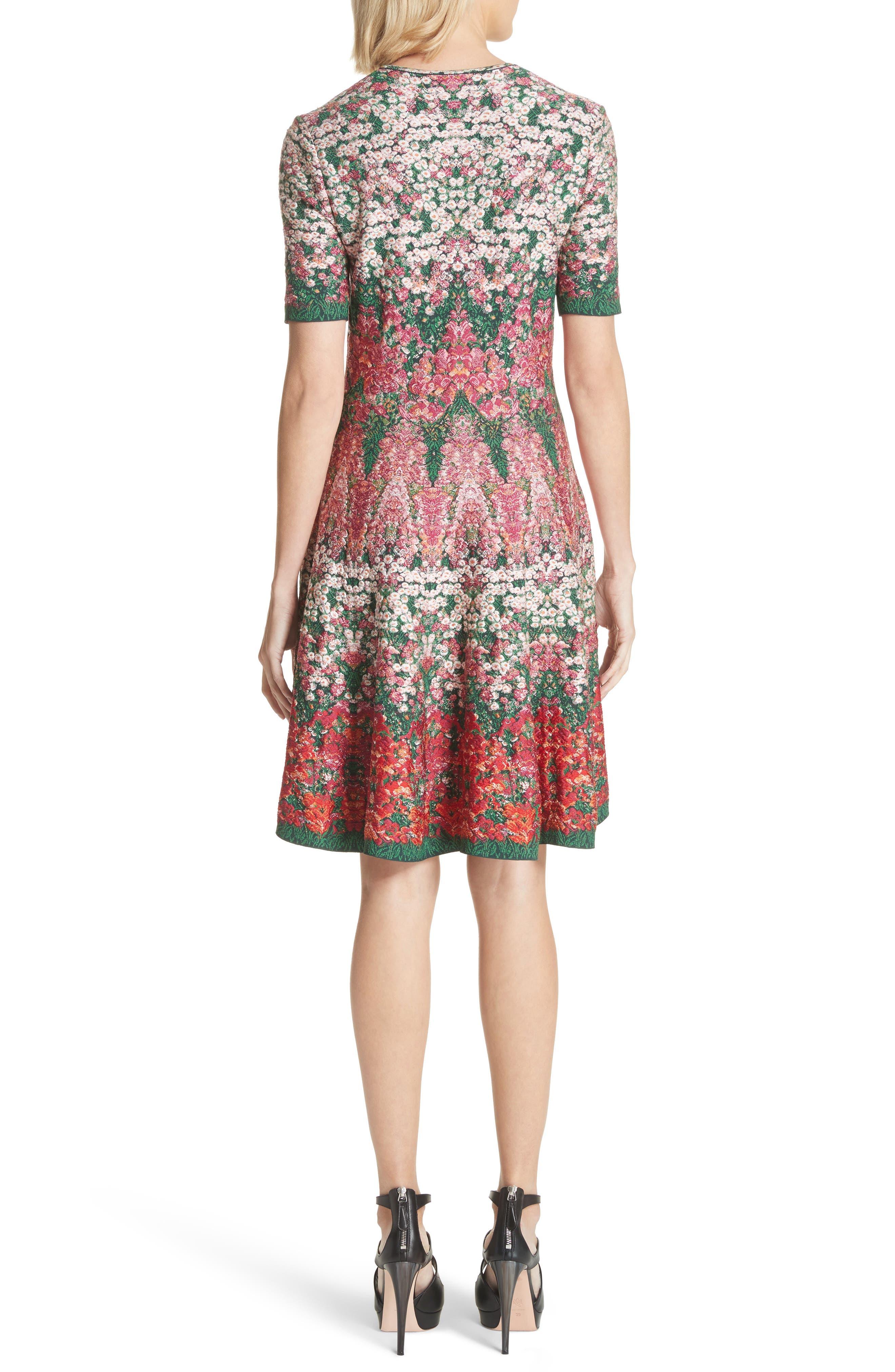 Floral Jacquard Knit Fit & Flare Dress,                             Alternate thumbnail 2, color,                             608
