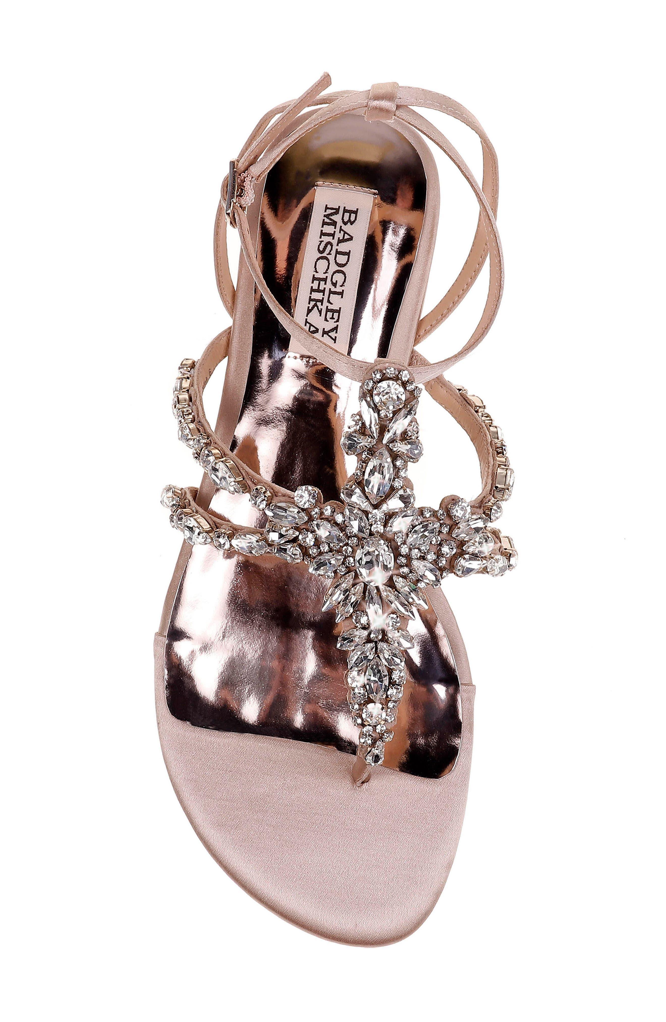 Hampden Crystal Embellished Sandal,                             Alternate thumbnail 5, color,                             LATTE SATIN