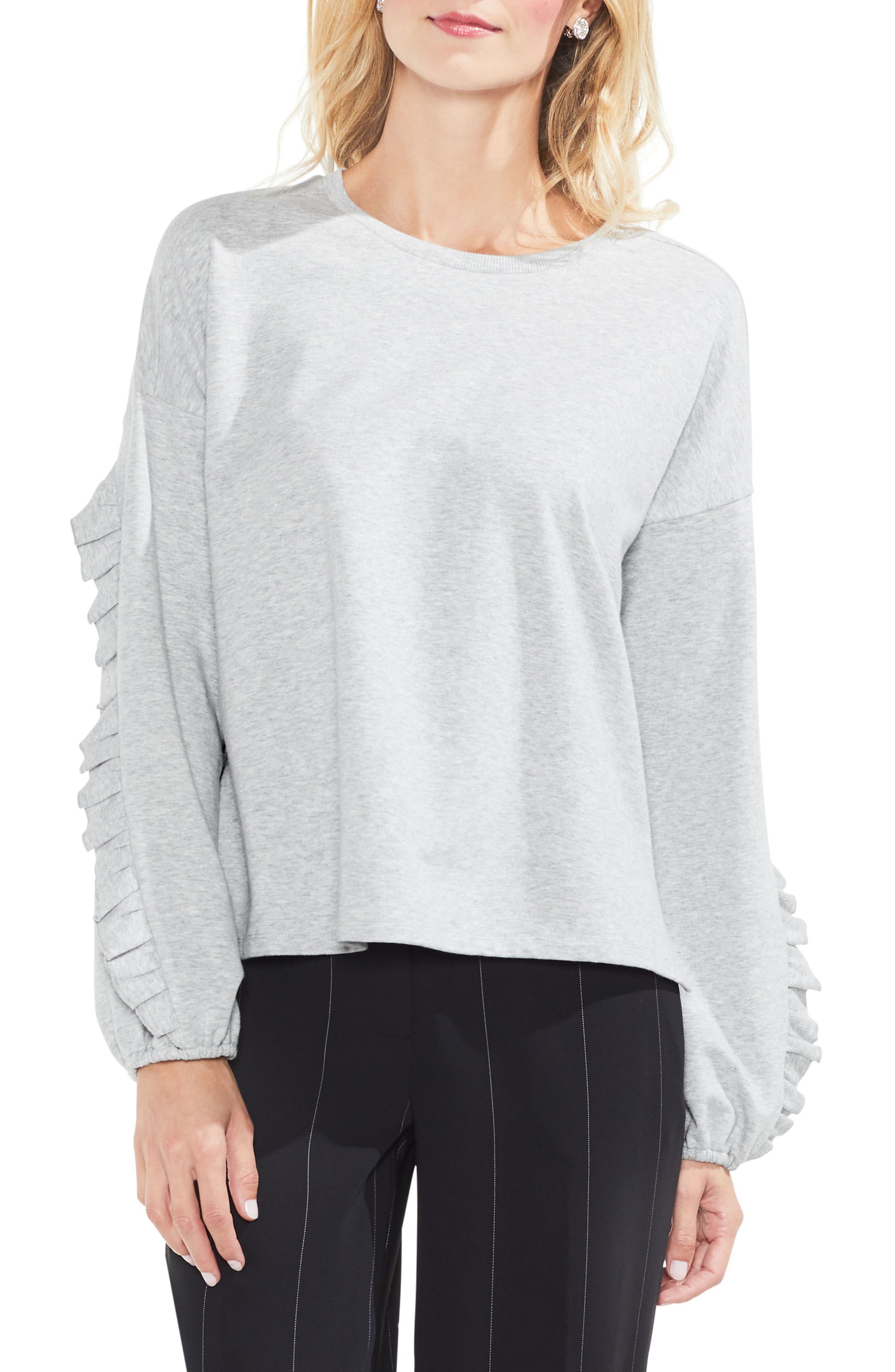 Ruffle Sleeve Sweatshirt,                             Main thumbnail 1, color,                             050