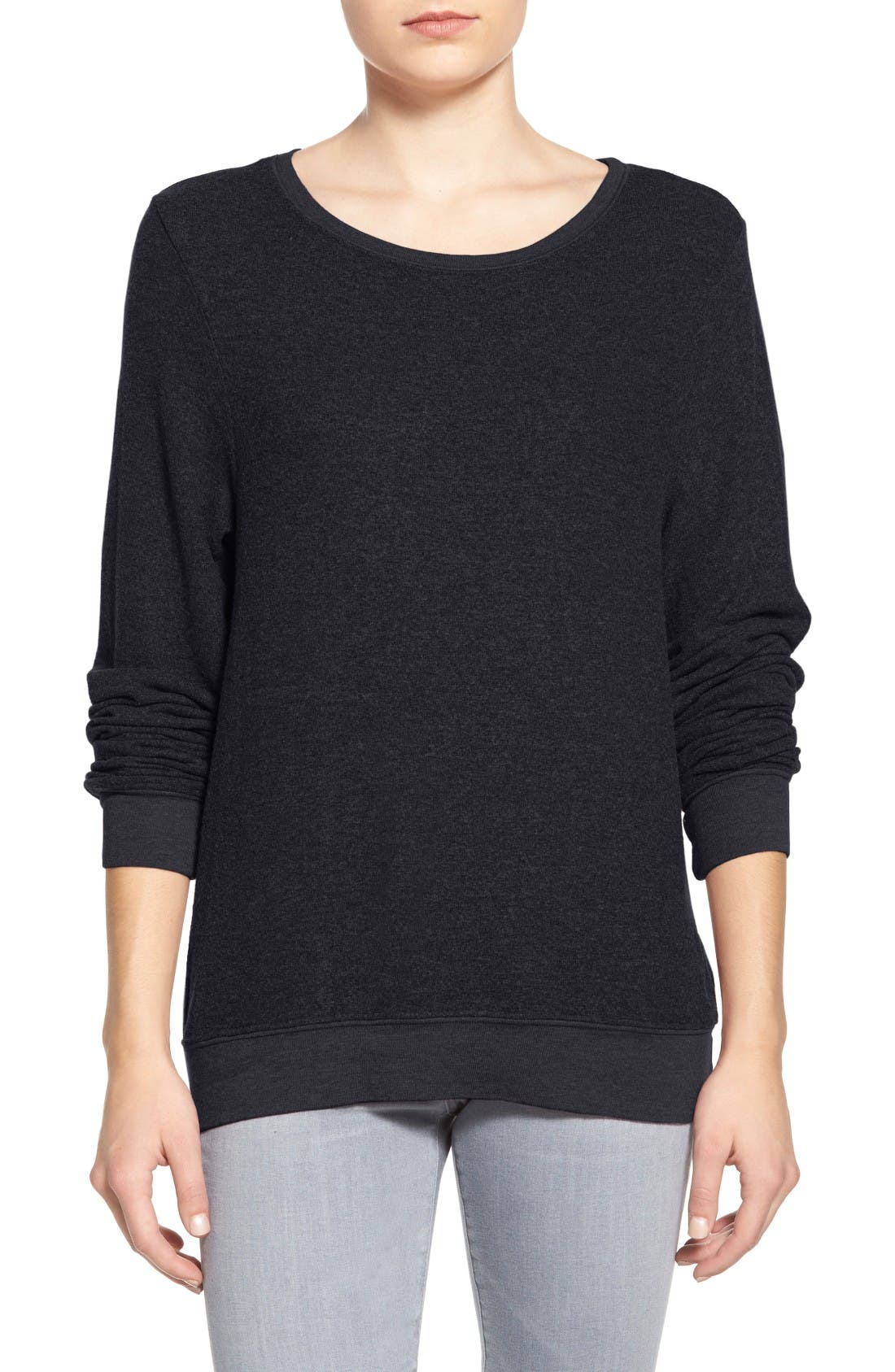 'Baggy Beach Jumper' Pullover,                             Main thumbnail 1, color,                             JET BLACK