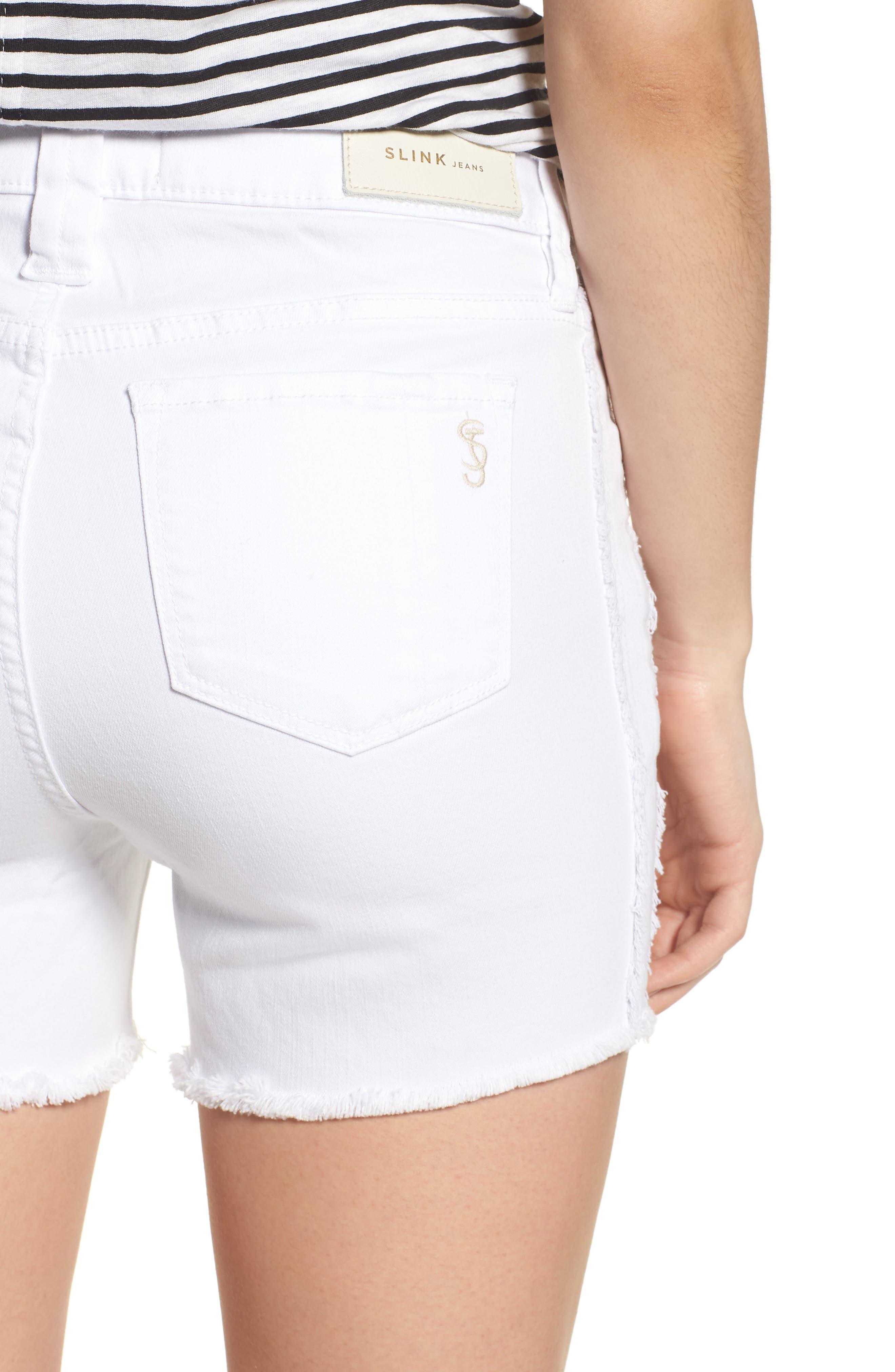 Tux Frayed Denim Shorts,                             Alternate thumbnail 4, color,