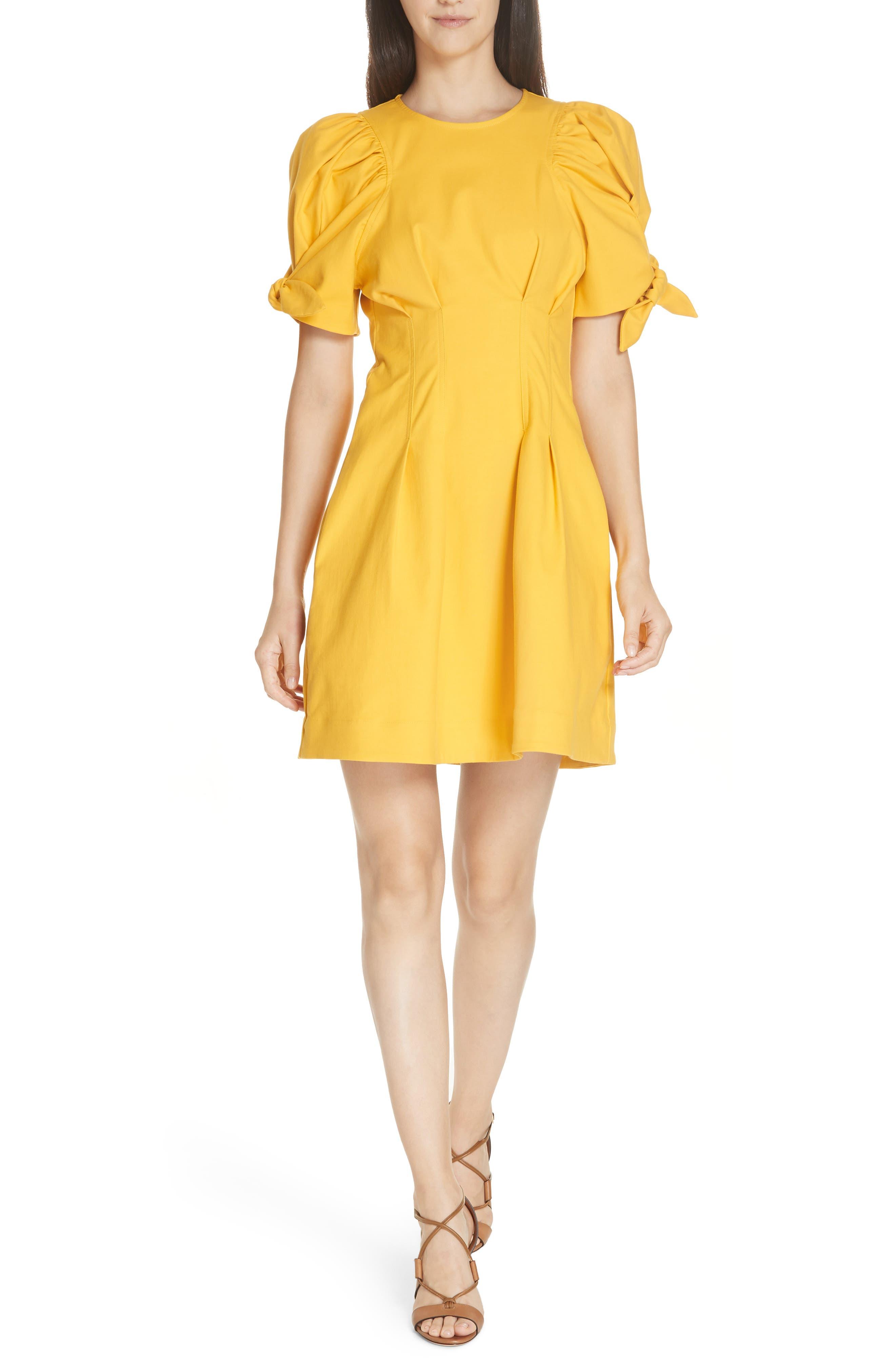 Sea Lennox Puff Sleeve Minidress, Yellow