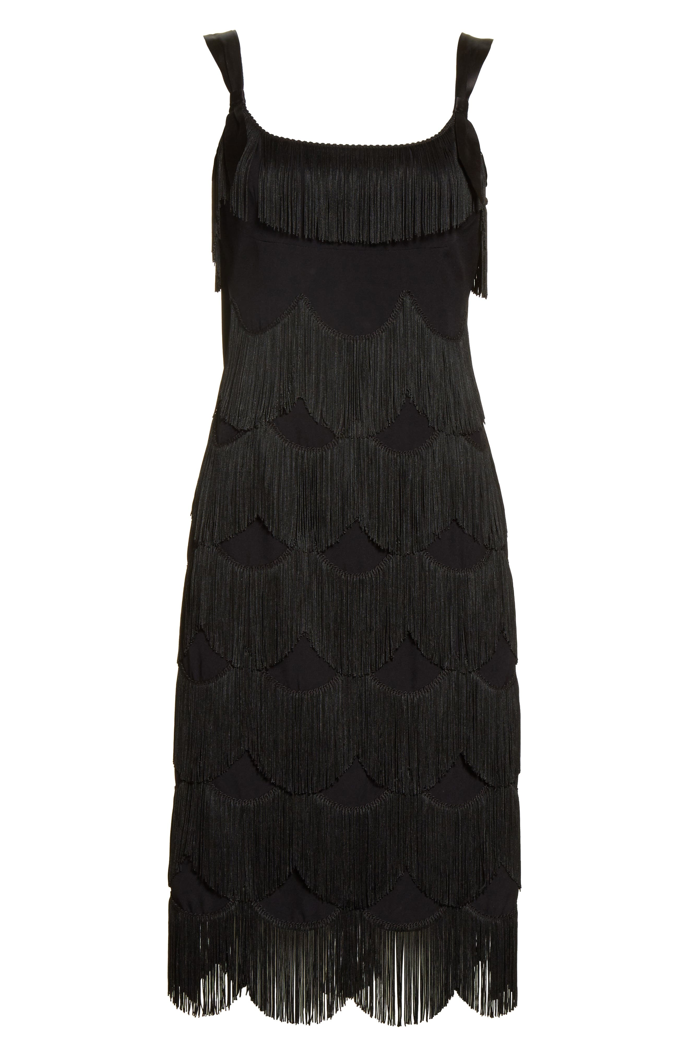 Scalloped Fringe Party Dress,                             Alternate thumbnail 6, color,                             001