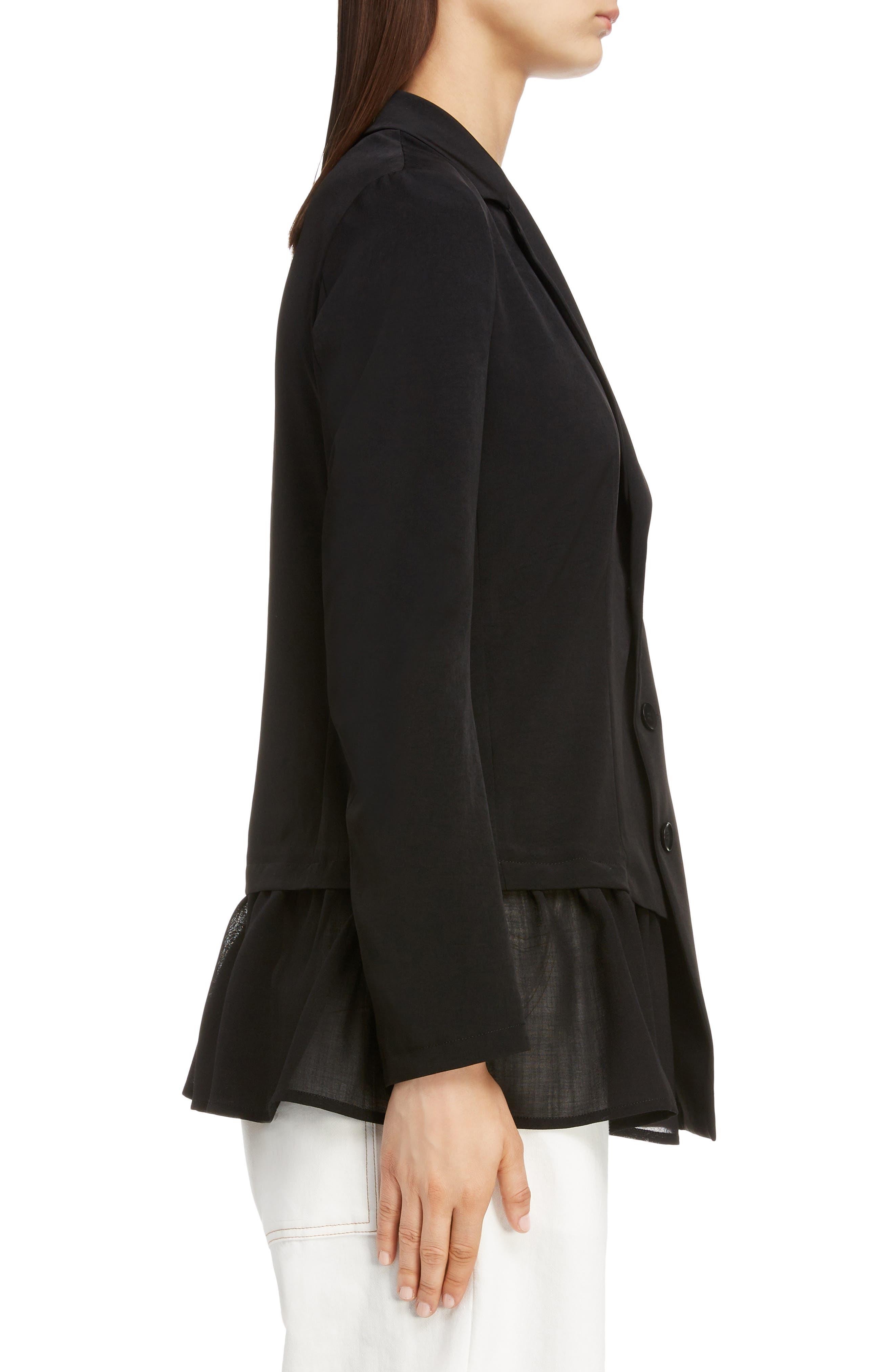 Asymmetrical Peplum Jacket,                             Alternate thumbnail 3, color,                             BLACK