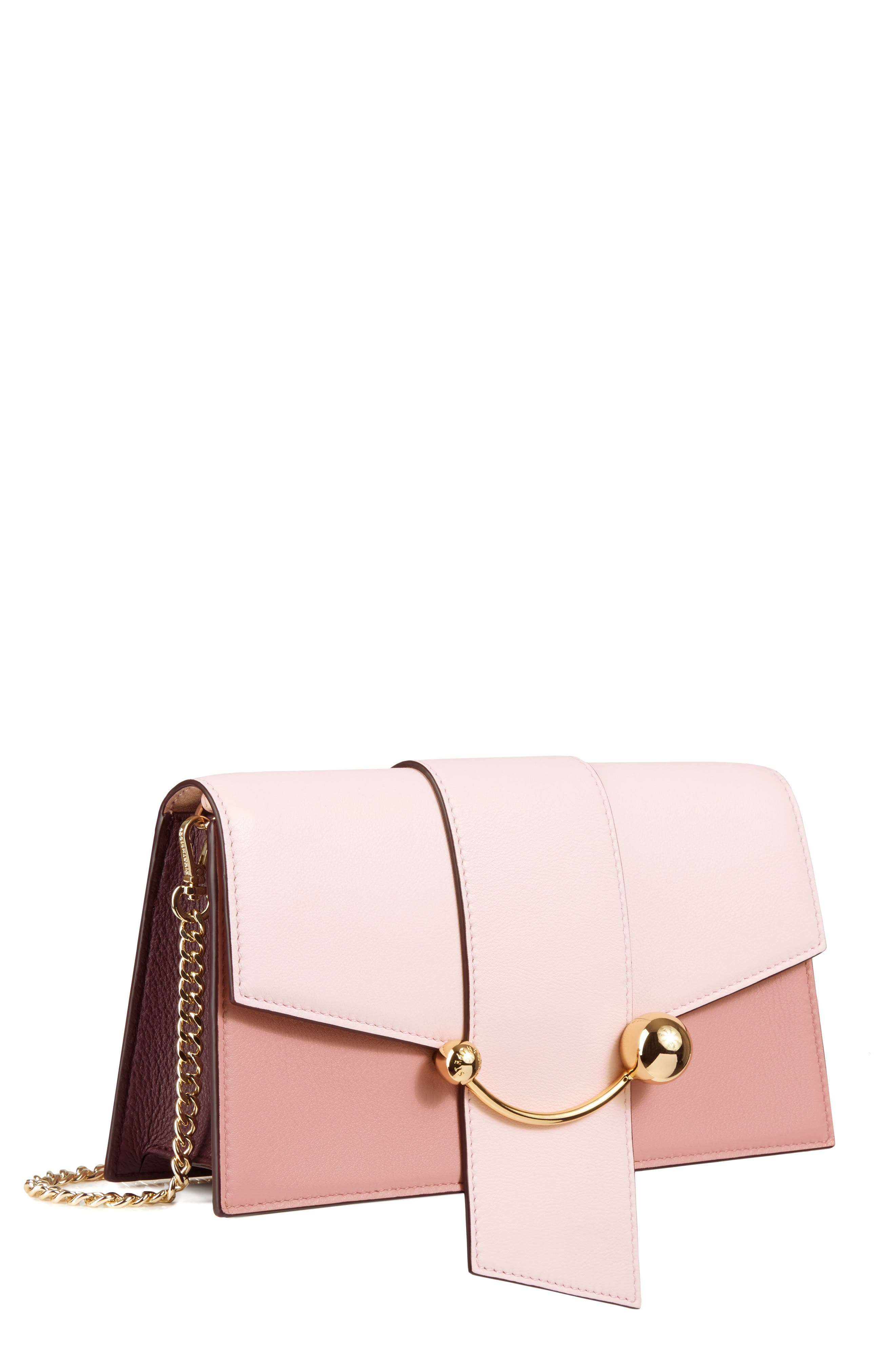 STRATHBERRY,                             Mini Crescent Leather Clutch,                             Main thumbnail 1, color,                             BABY PINK/ ROSE/ BURGUNDY