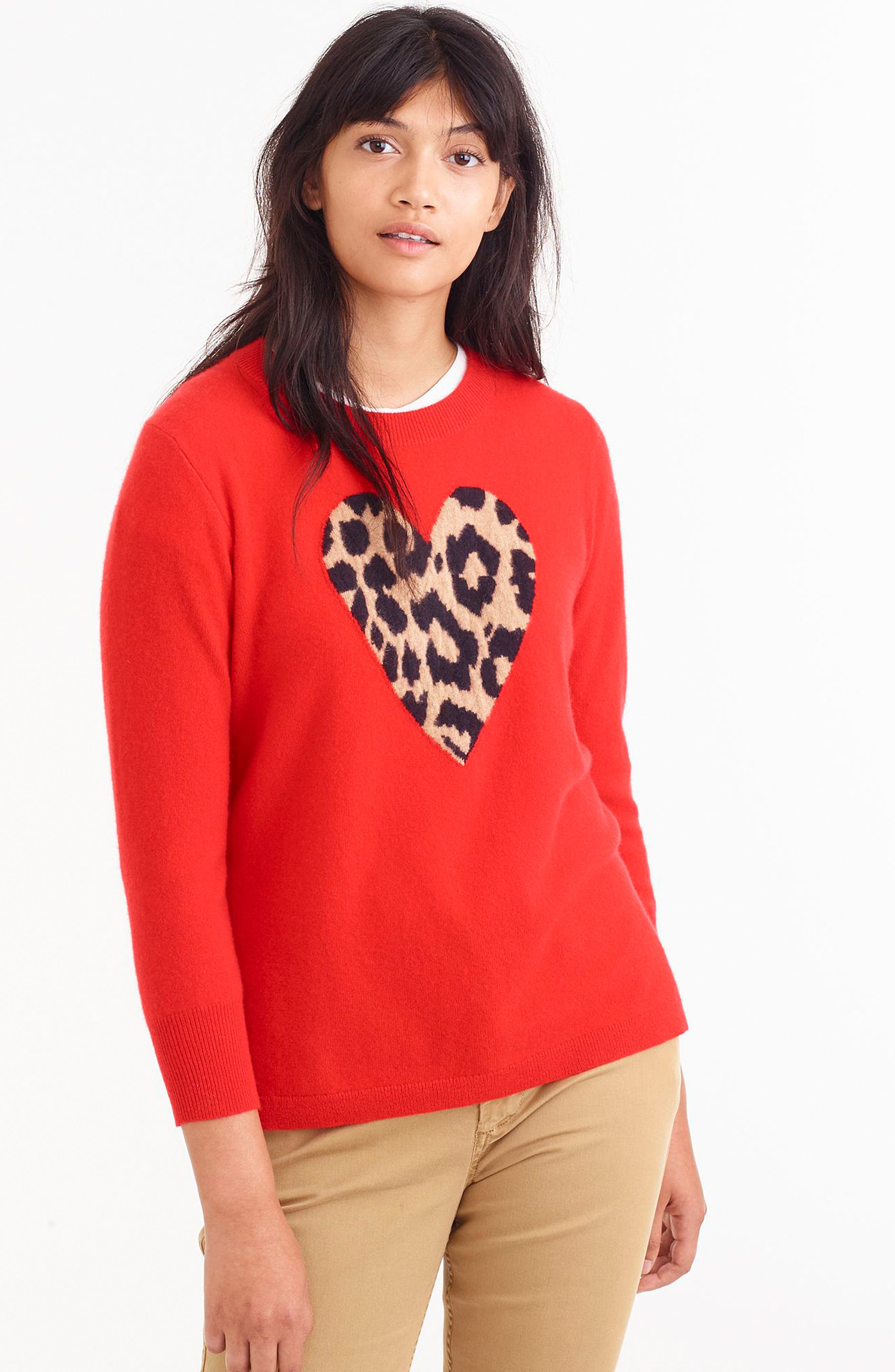 Leopard Heart Everyday Cashmere Sweater,                             Alternate thumbnail 11, color,                             600