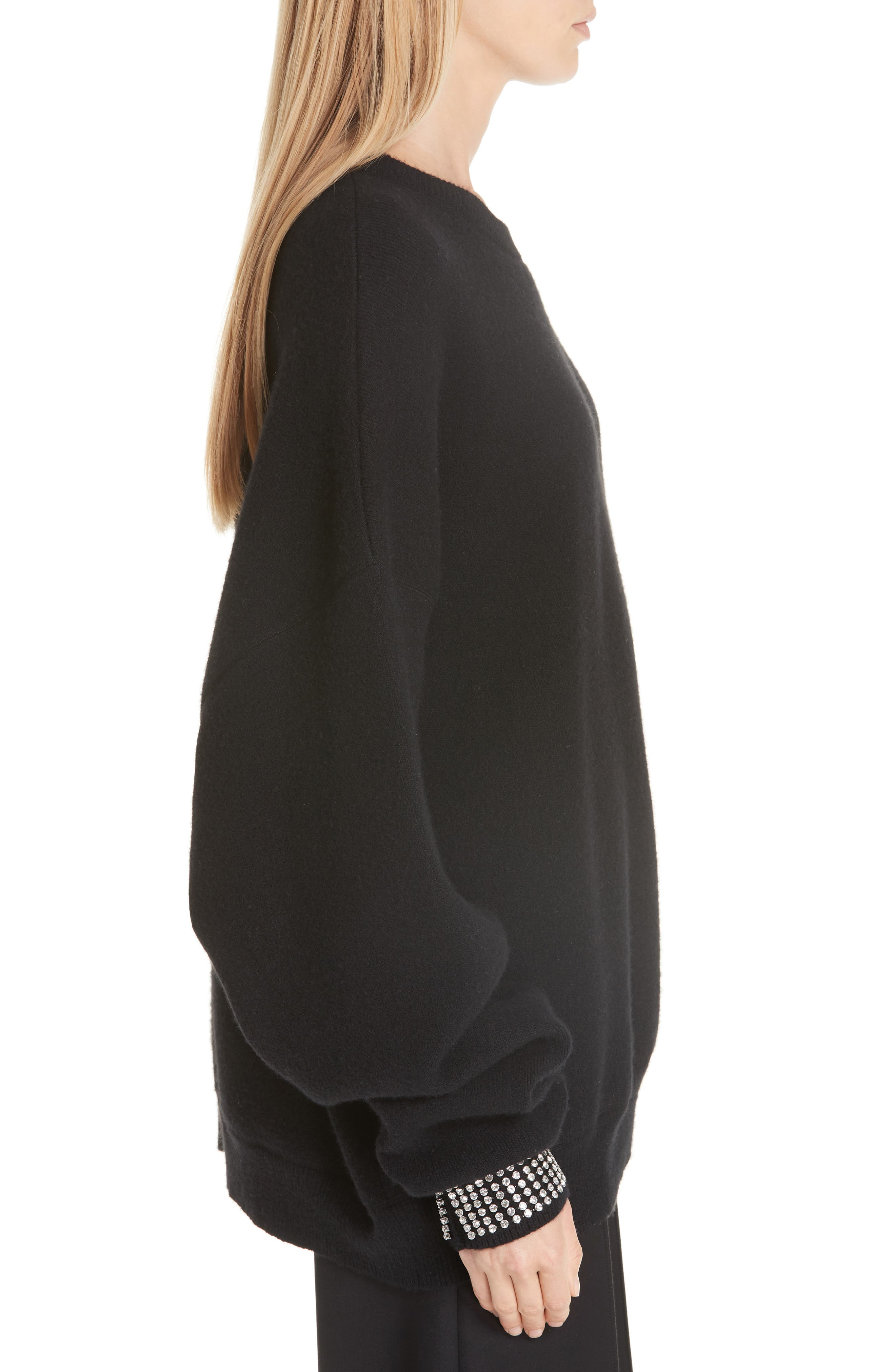 Crystal Cuff Wool Blend Sweater,                             Alternate thumbnail 3, color,                             BLACK