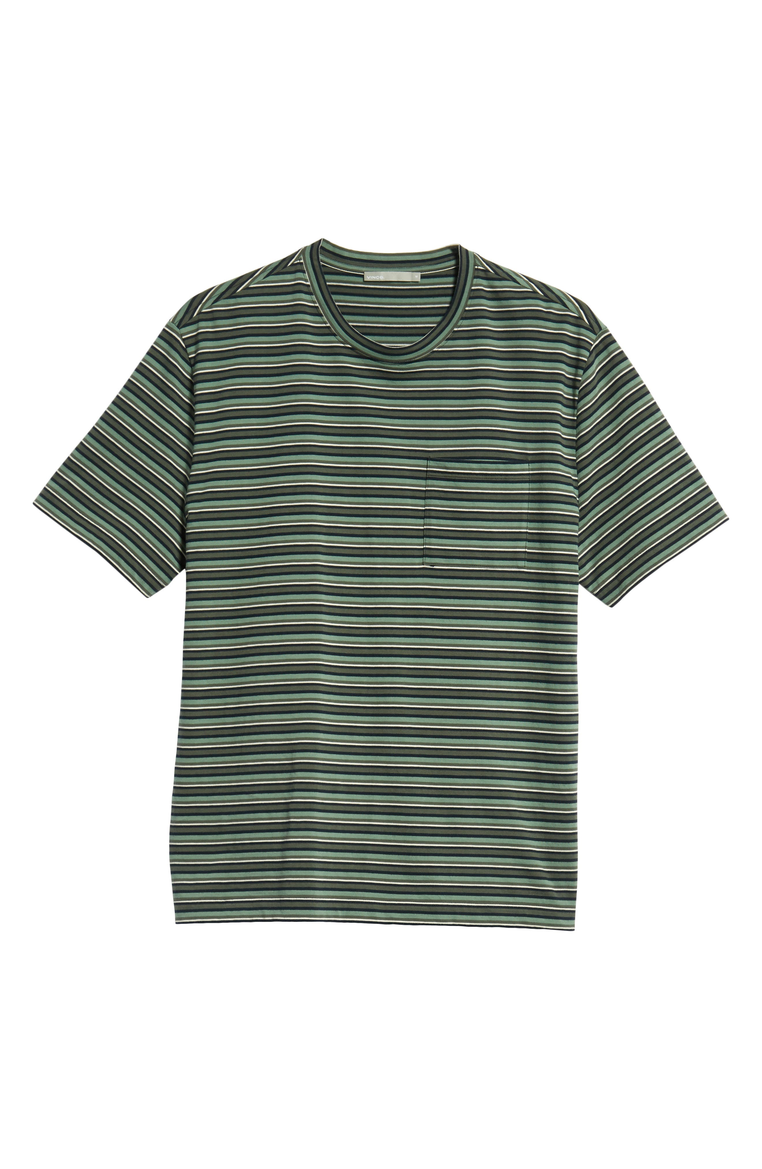 Regular Fit Multistripe Pocket T-Shirt,                             Alternate thumbnail 6, color,                             URBAN GREEN/ SPEARMINT