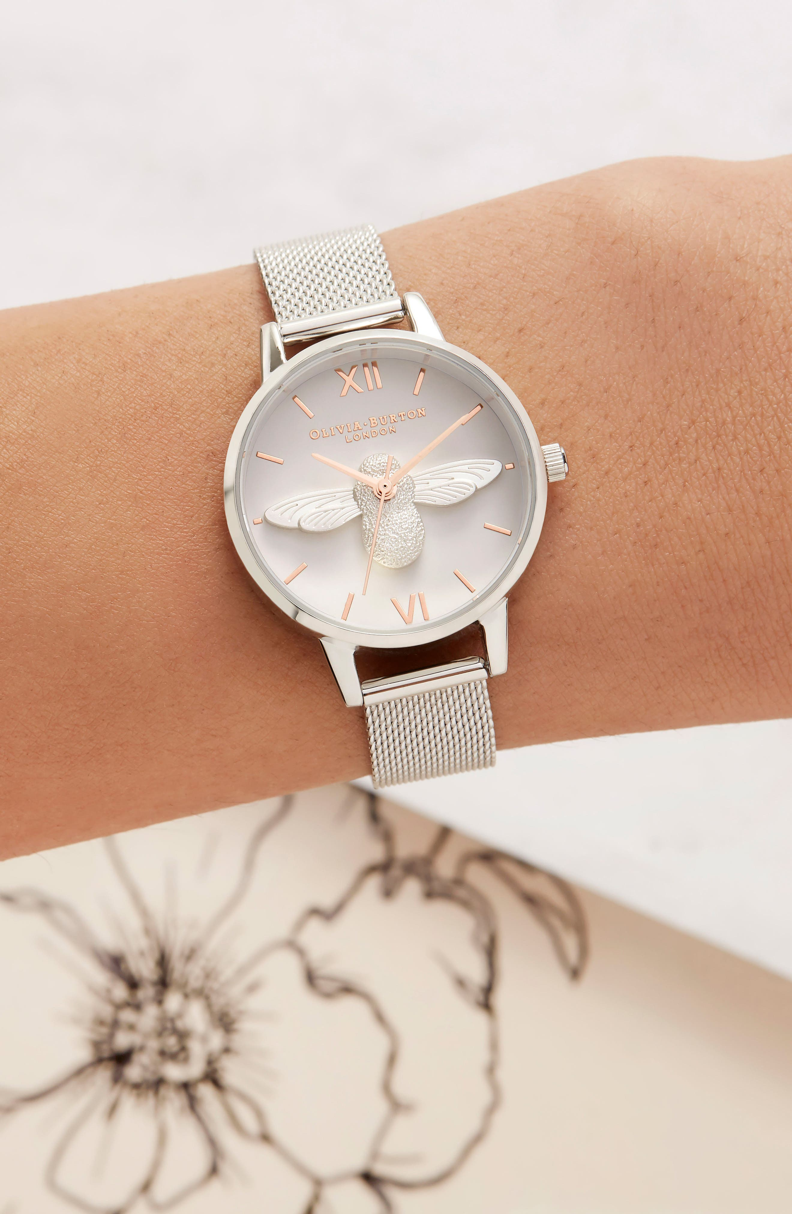 Bee Mesh Strap Watch, 30mm,                             Alternate thumbnail 4, color,                             SILVER/ BEE/ SILVER