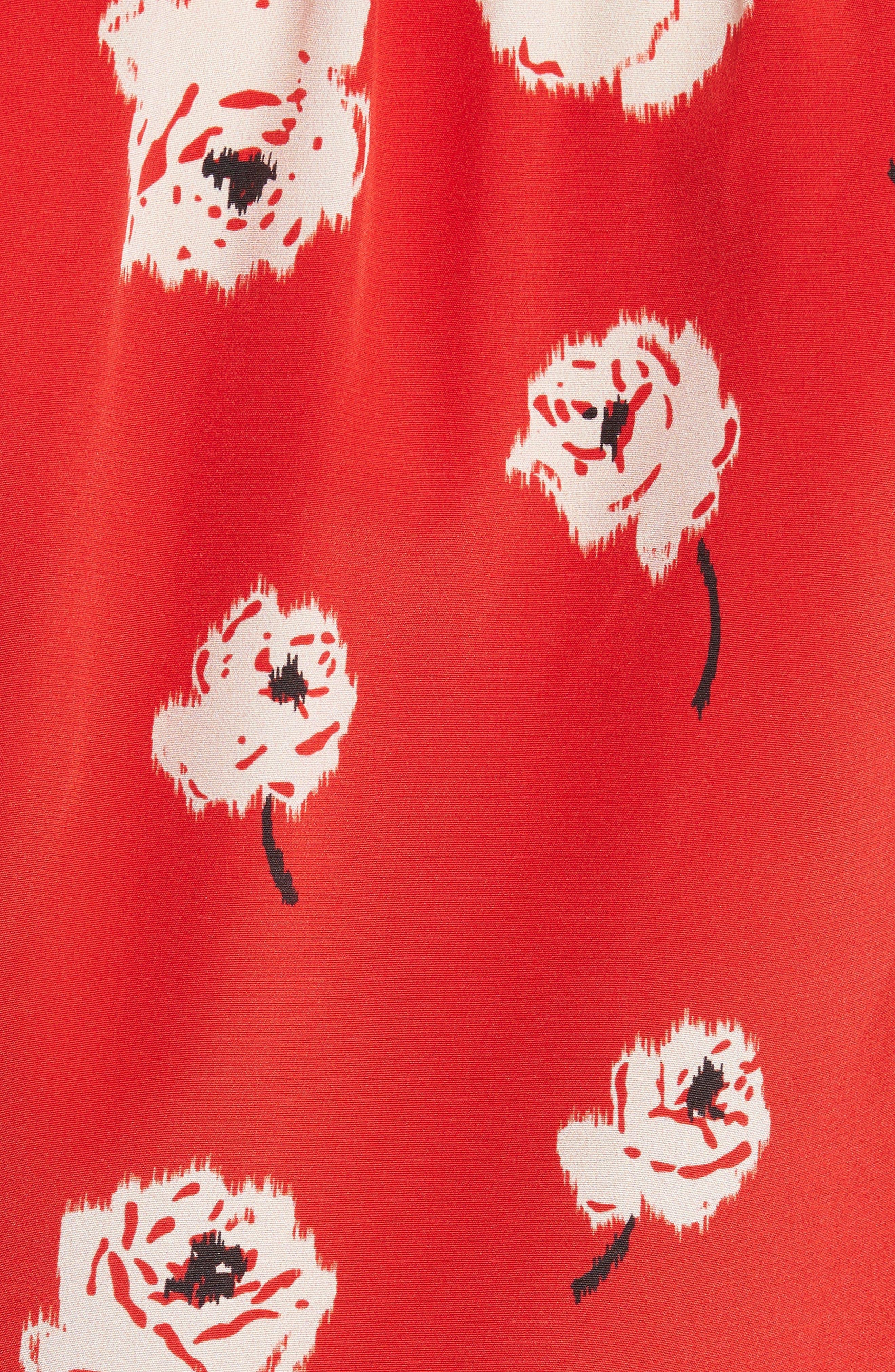 Asymmetrical Floral Silk Blouse,                             Alternate thumbnail 5, color,                             623