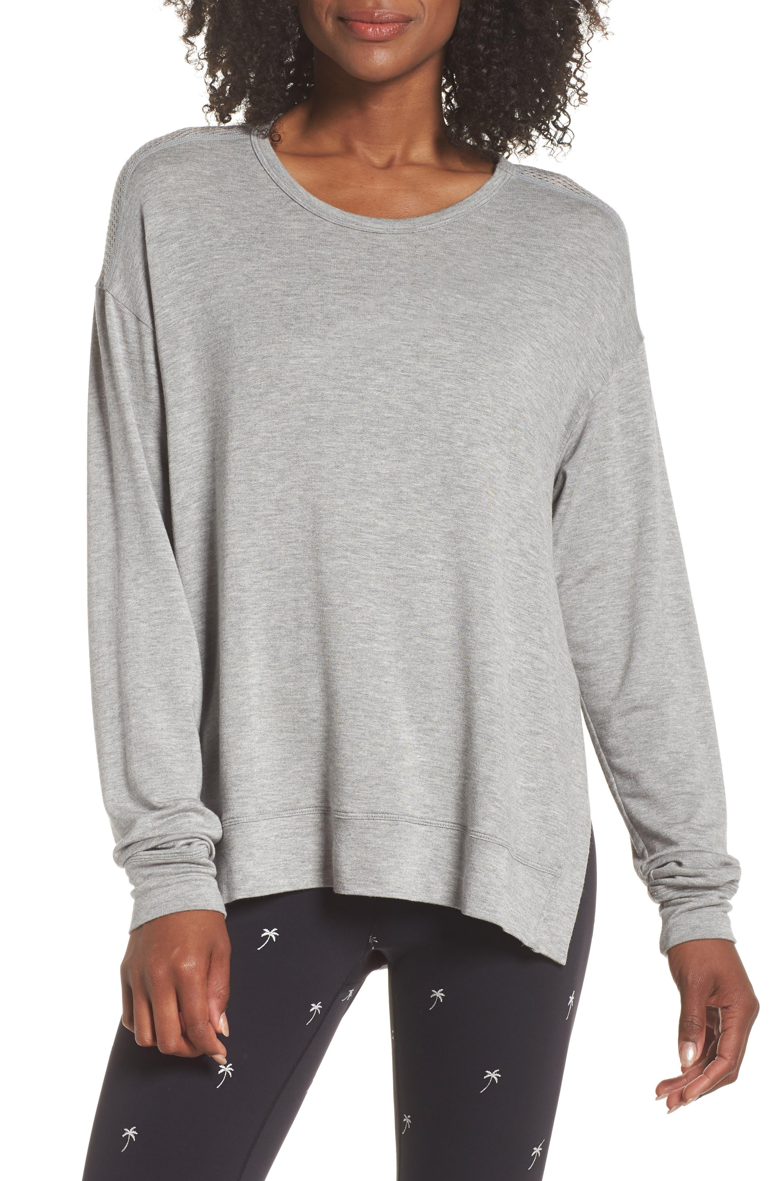 Heron Mesh Back Sweatshirt,                             Main thumbnail 1, color,                             HEATHER GREY