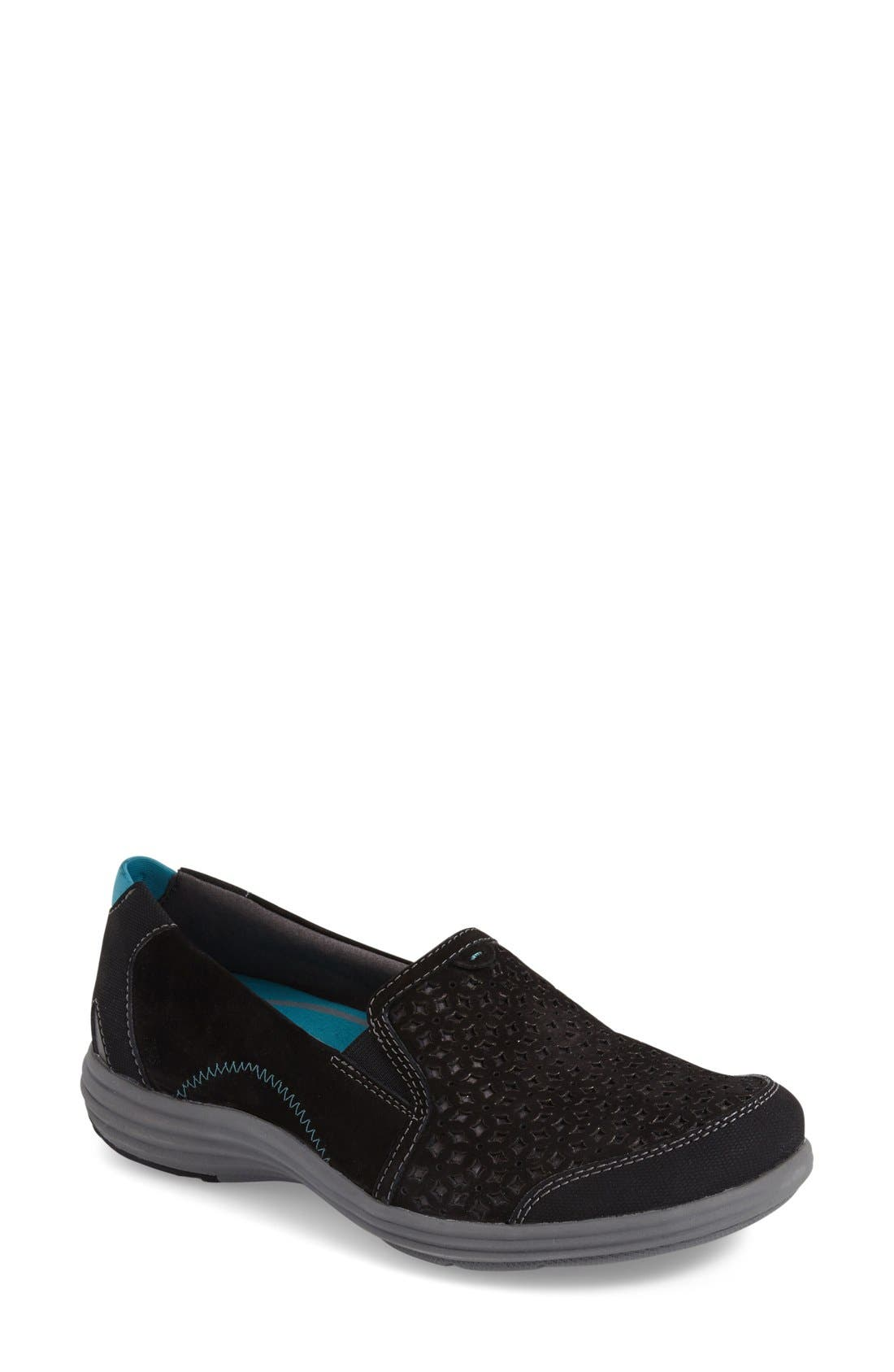 'Bonnie' Slip-On Sneaker,                         Main,                         color, BLACK LEATHER
