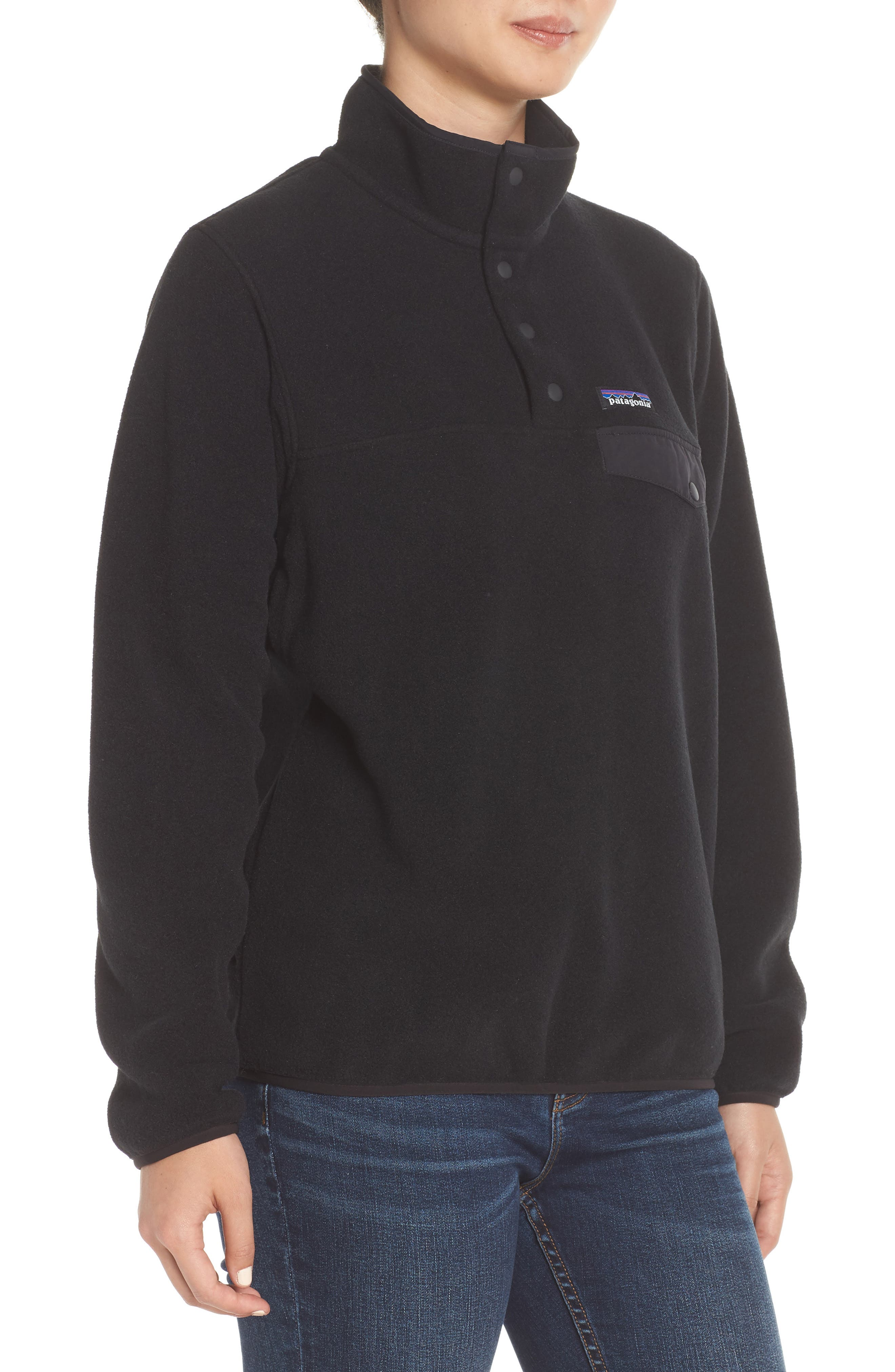 PATAGONIA,                             Synchilla Snap-T<sup>®</sup> Fleece Pullover,                             Alternate thumbnail 3, color,                             BLACK W/ BLACK