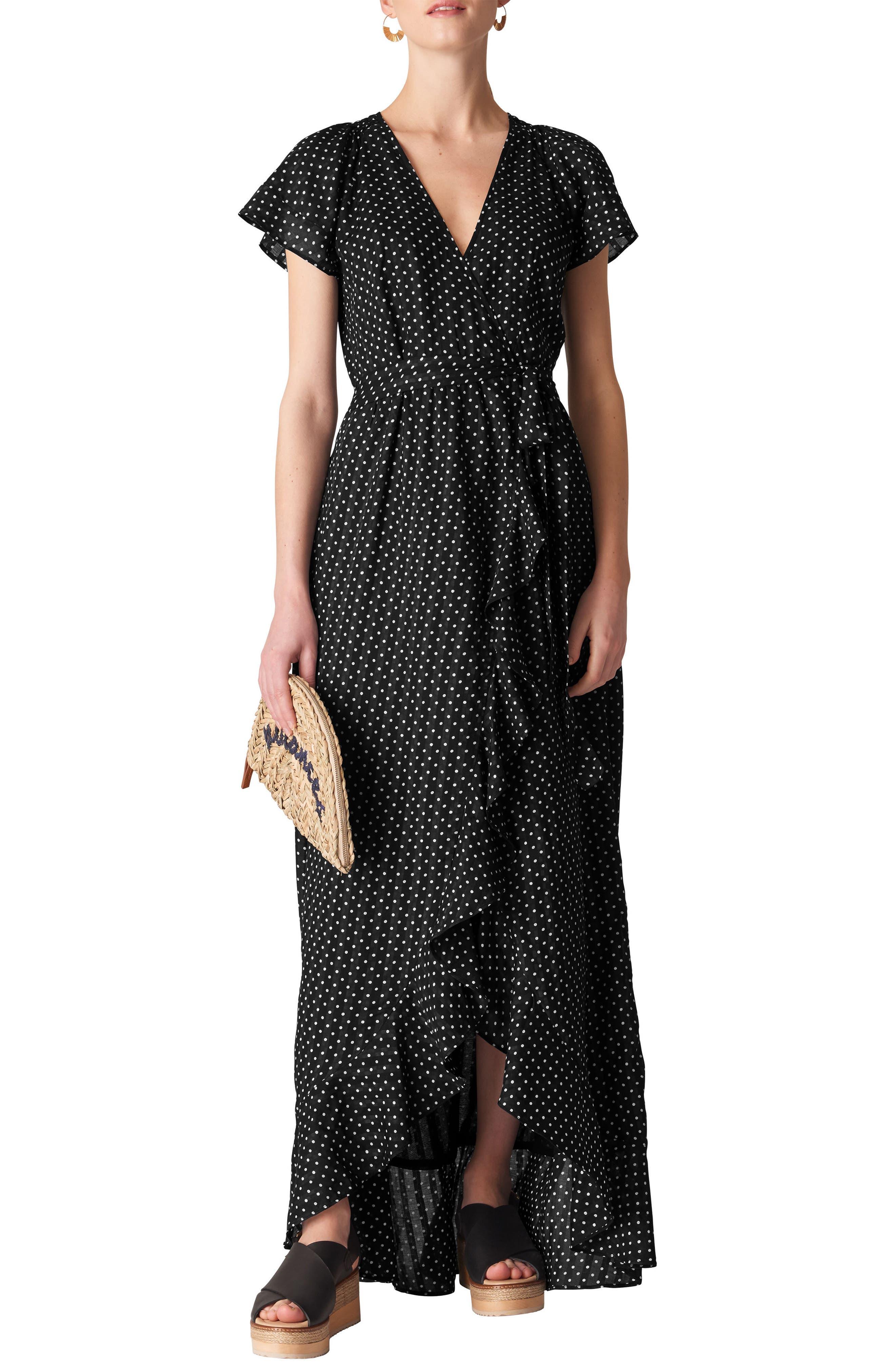 Spot Maxi Wrap Dress,                         Main,                         color, BLACK/ WHITE