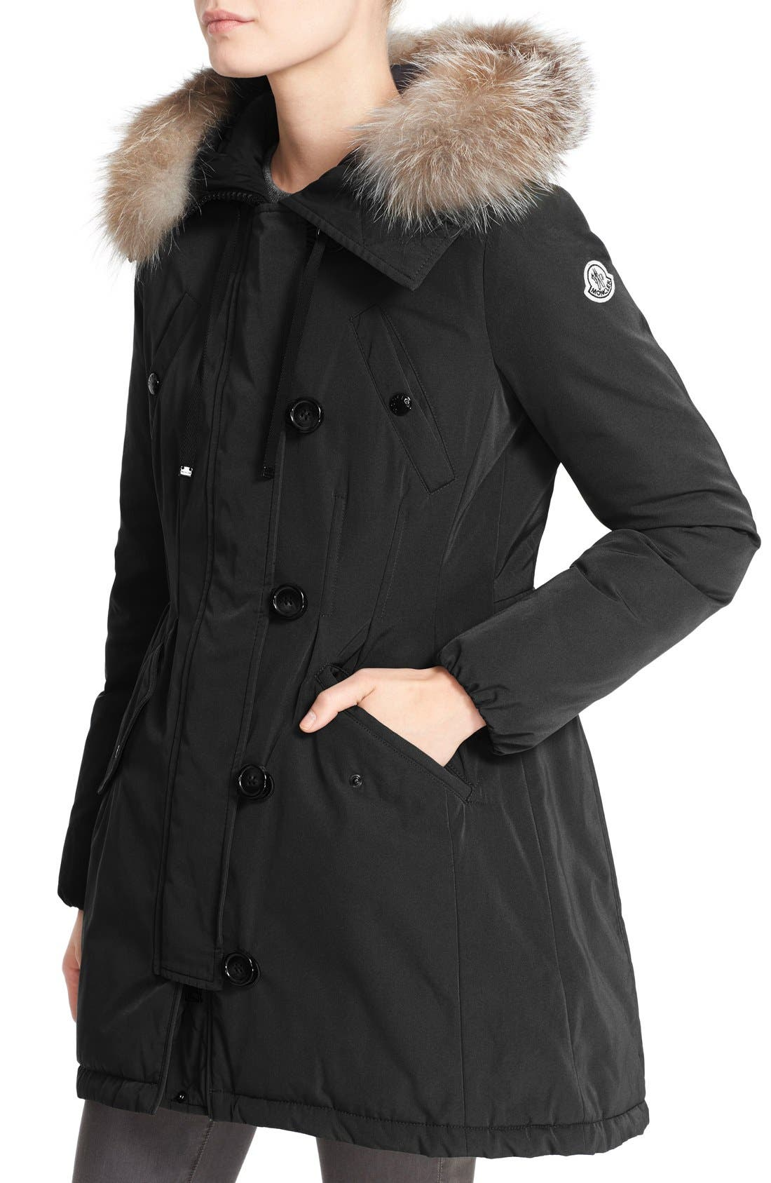 Aredhel Hooded Down Parka with Removable Genuine Fox Fur Trim,                             Alternate thumbnail 9, color,                             001