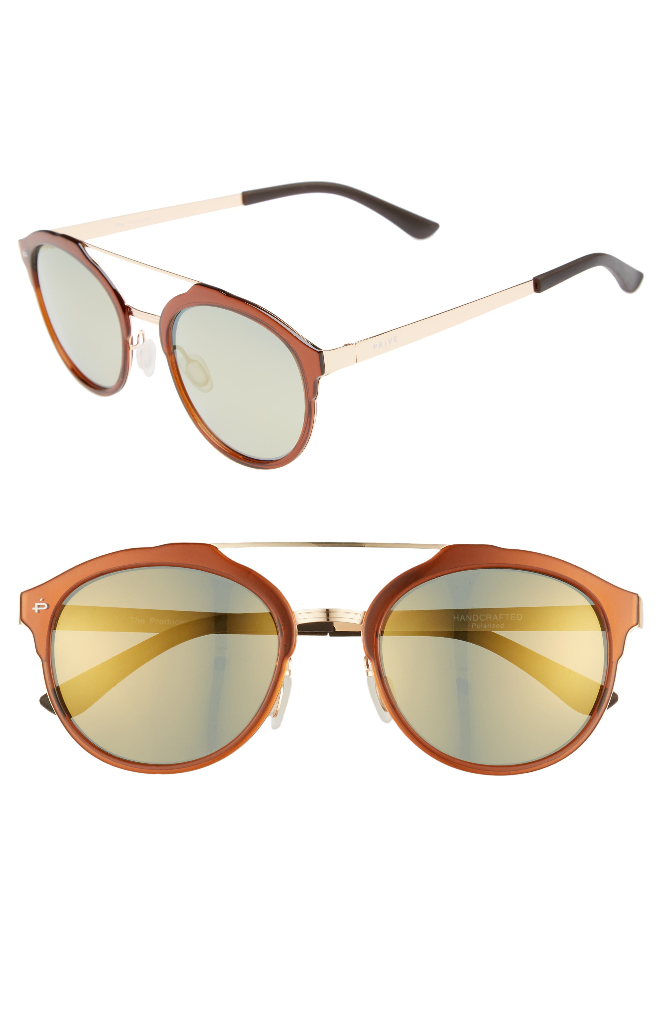 The Producer 50mm Polarized Sunglasses,                         Main,                         color, BROWN