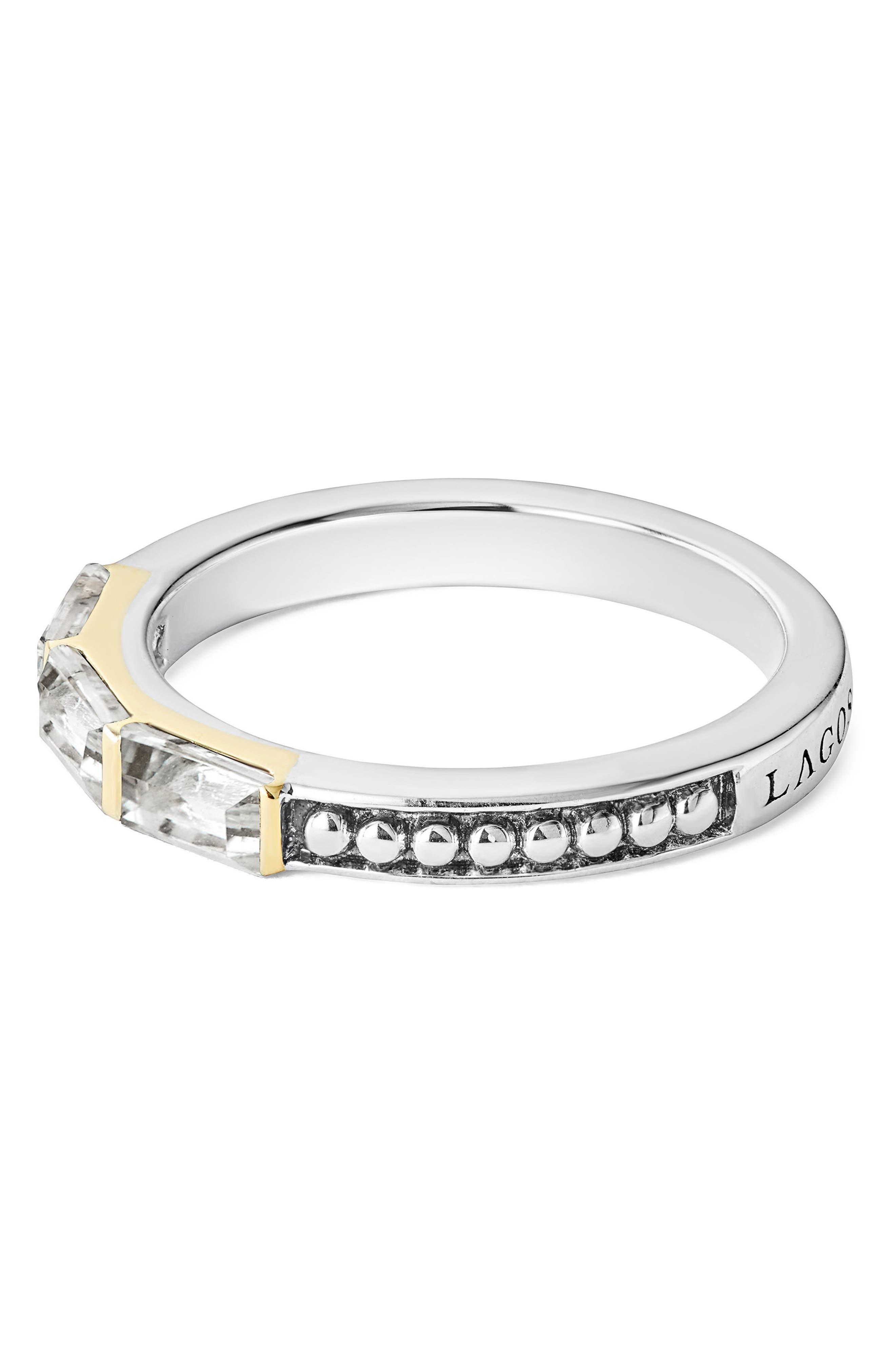 Gemstone Baguette Stackable Ring,                             Alternate thumbnail 2, color,                             SILVER/ 18K GOLD/ WHITE TOPAZ